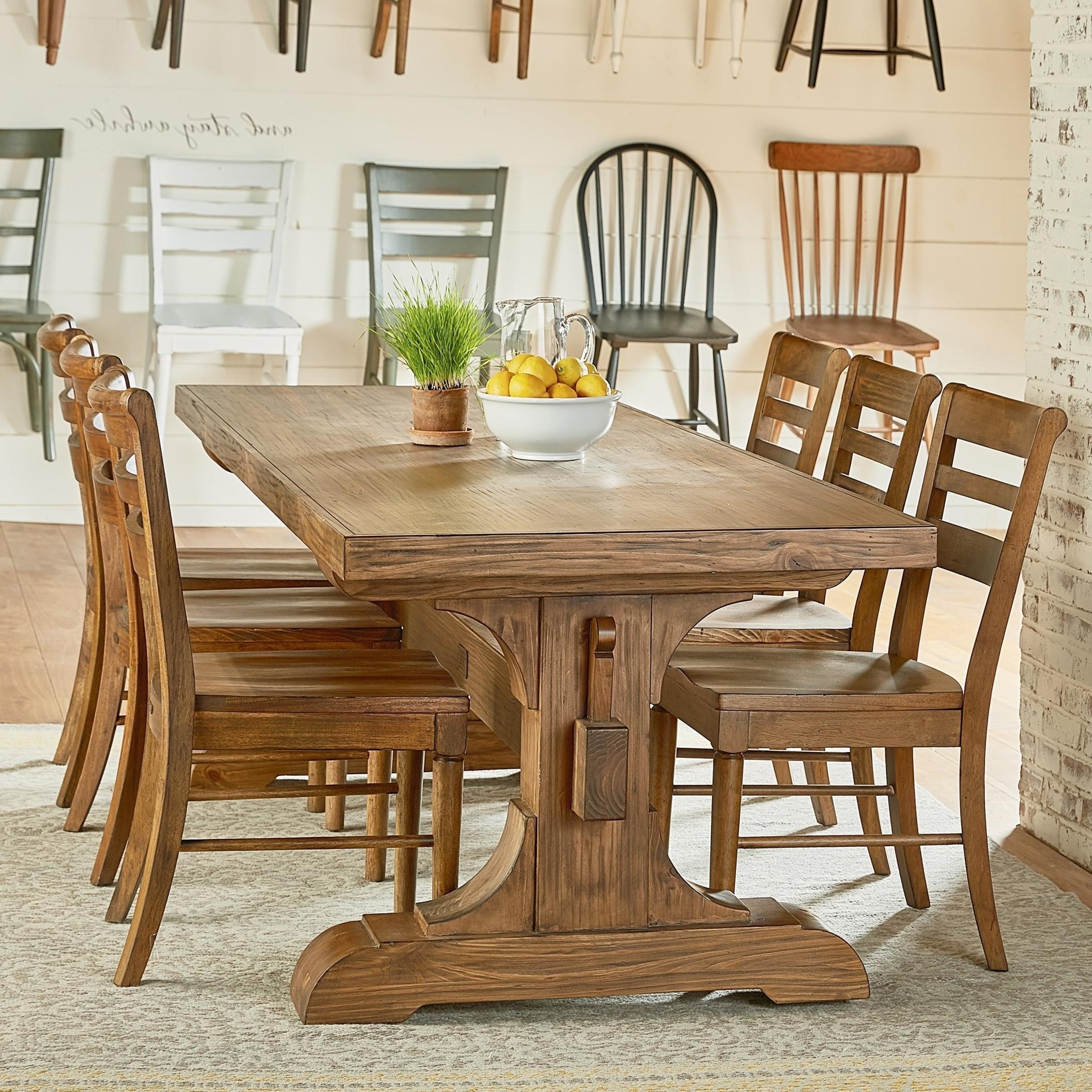 Latest Magnolia Home Top Tier Round Dining Tables With Regard To Magnolia Homejoanna Gaines Farmhouse Seven Piece Trestle Table (View 8 of 25)
