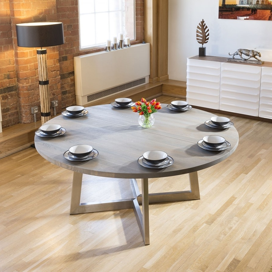 Latest Massive 180Cm Luxury Round Dining Table Oak Wood Grey Wash Oil In 180Cm Dining Tables (View 14 of 25)