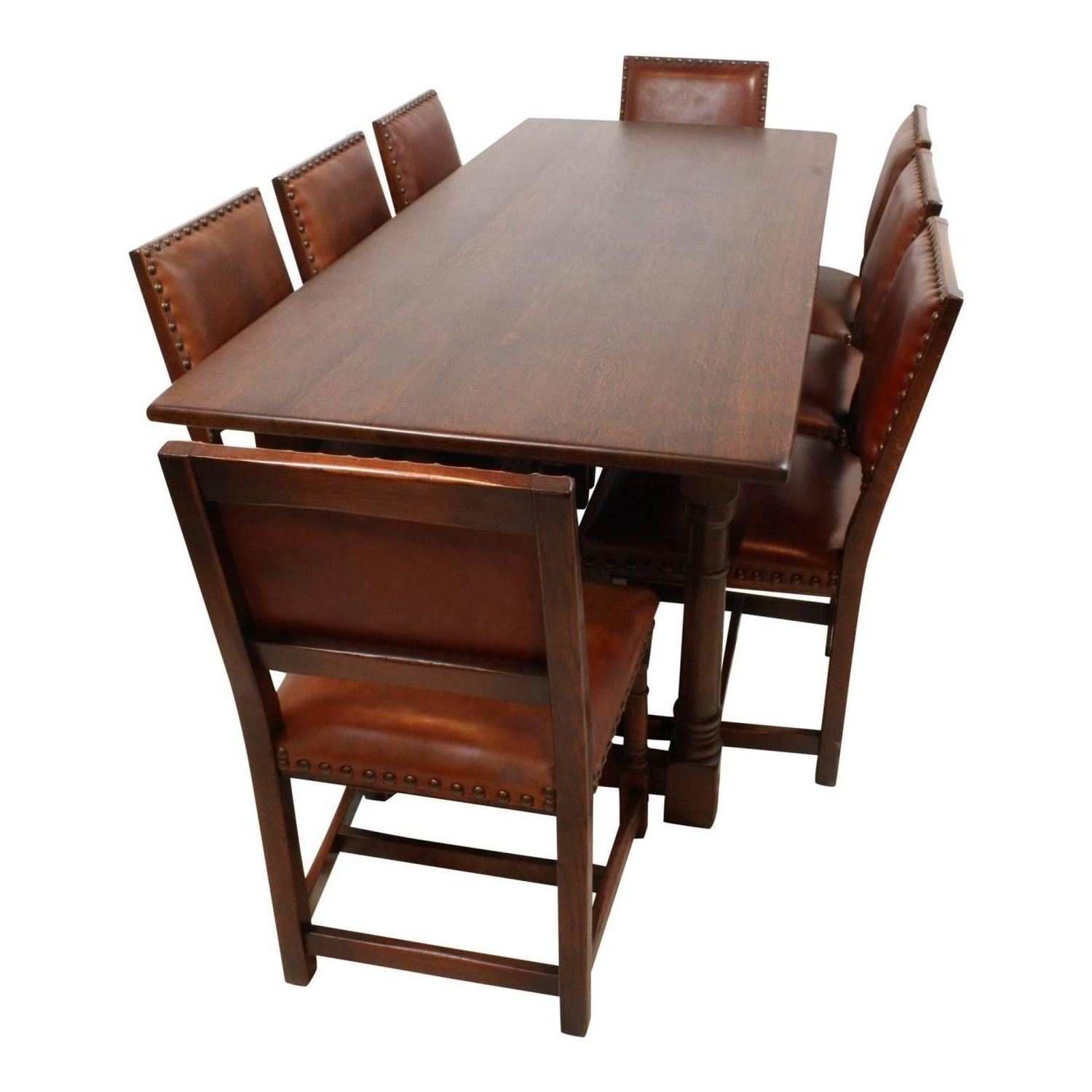 Latest Mid 20Th Century Oak Dining Room Table With Eight Leather Regarding Dining Tables For Eight (View 4 of 25)