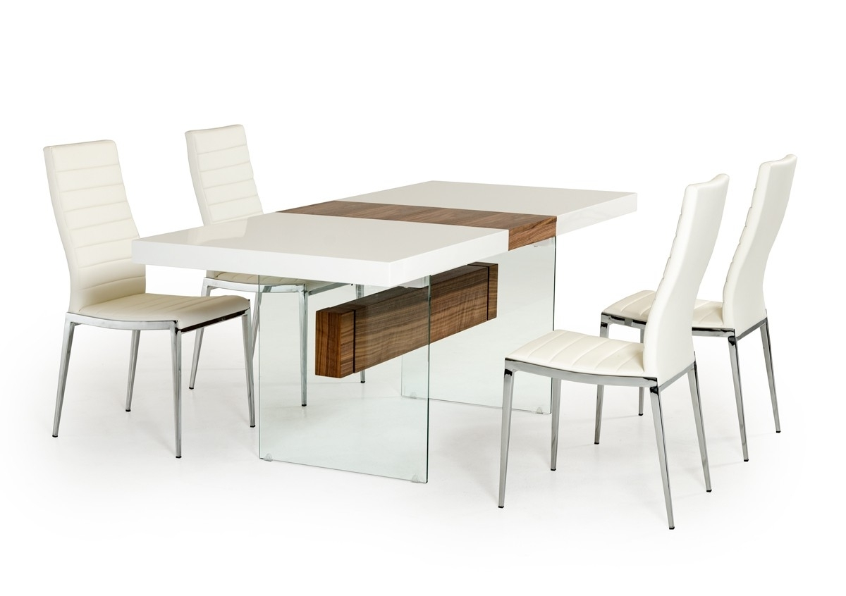 Latest Modrest Sven Contemporary White & Walnut Floating Extendable Dining Within Glass Round Extending Dining Tables (View 15 of 25)