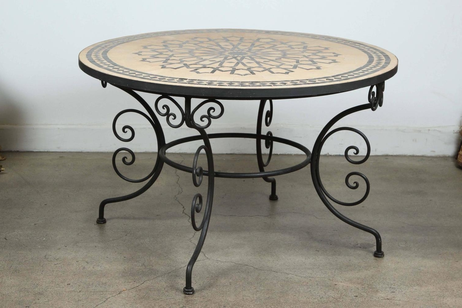 Latest Moroccan Outdoor Round Mosaic Tile Dining Table On Iron Base 47 In For Mosaic Dining Tables For Sale (View 7 of 25)