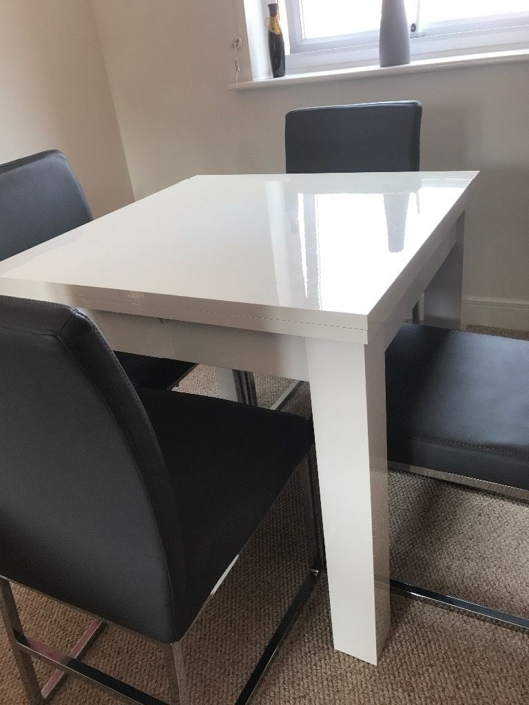 Latest Next White Gloss Extending Dining Table (View 9 of 25)