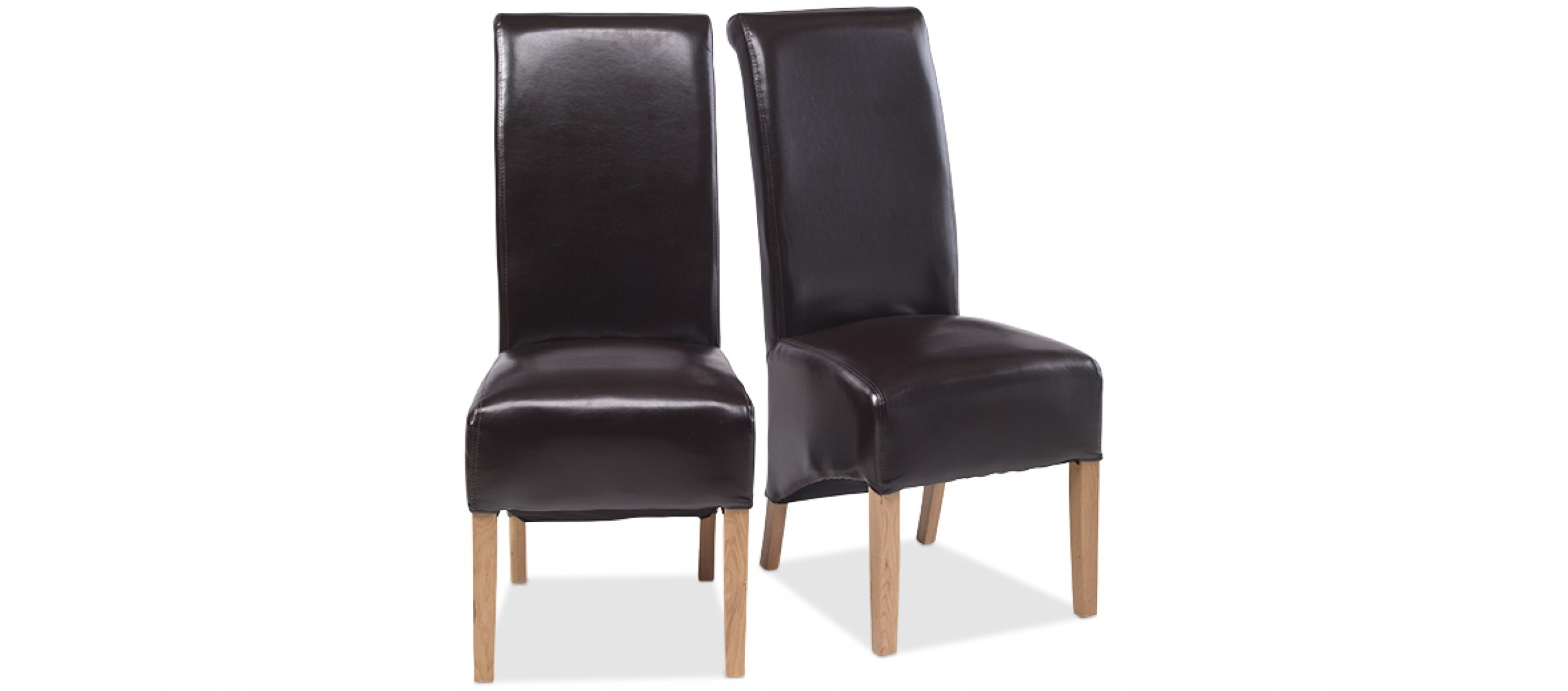 Latest Oak Leather Dining Chairs For Cube Oak Bonded Leather Dining Chairs Brown – Pair (View 5 of 25)