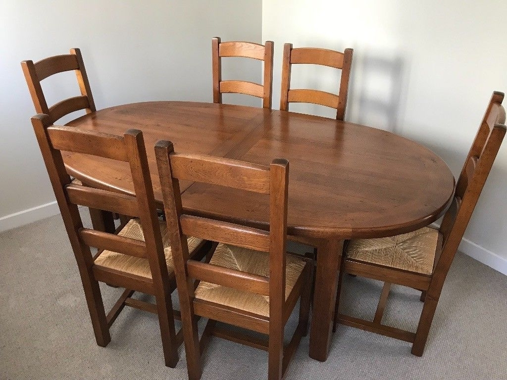 Latest Oval Oak Dining Tables And Chairs Intended For Extending Oval Oak Dining Table And Six Chairs 190 270Cm (View 9 of 25)