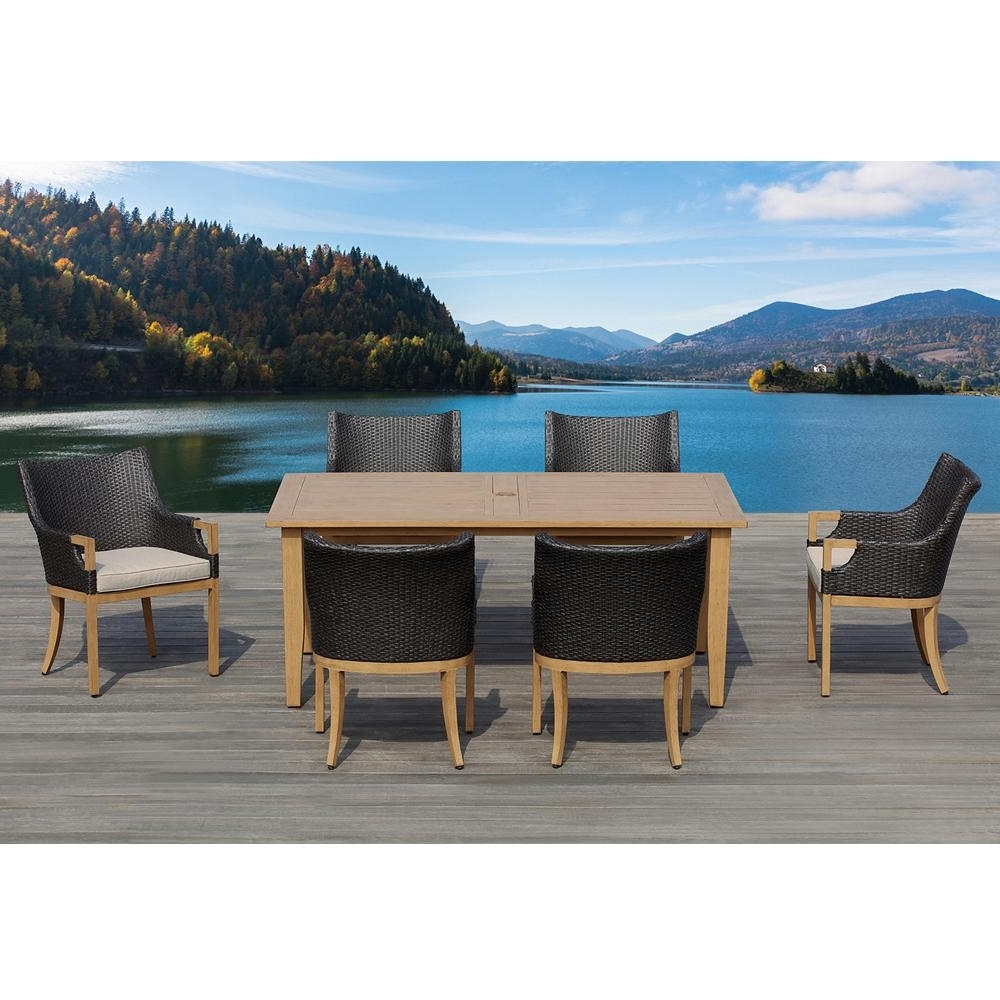 Latest Ove Decors Marbella Dark Brown 7 Piece Aluminum Rectangle Outdoor With Marbella Dining Tables (View 21 of 25)