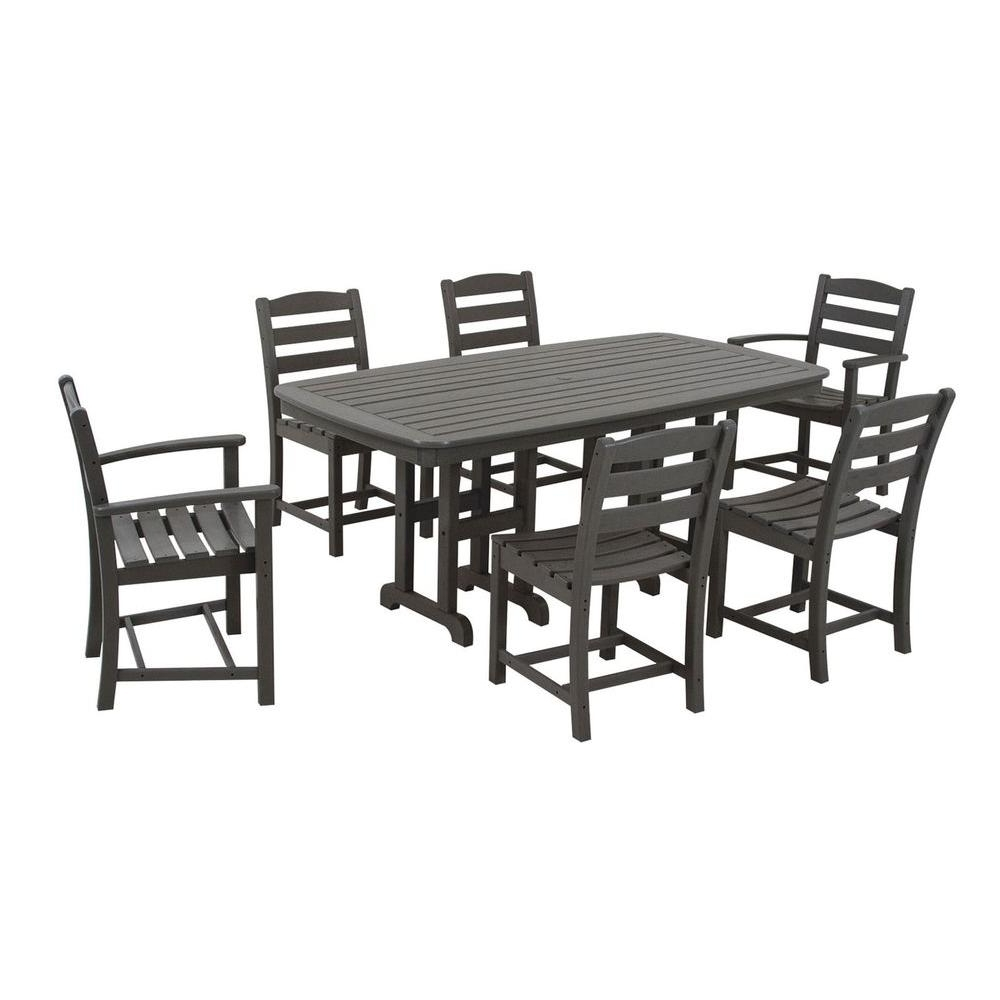 Latest Polywood La Casa Cafe Slate Grey 7 Piece Plastic Outdoor Patio With Laurent 7 Piece Rectangle Dining Sets With Wood Chairs (View 11 of 25)