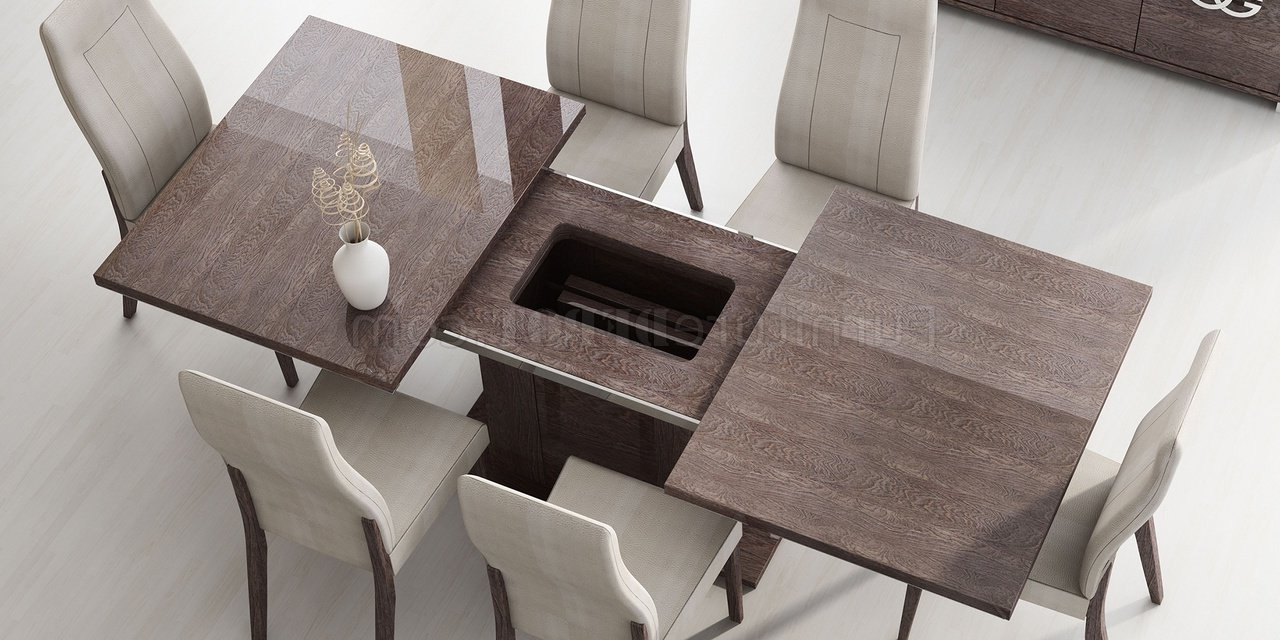 Latest Prestige Dining Table In High Gloss Walnutesf W/options Within Modern Dining Room Sets (View 10 of 25)