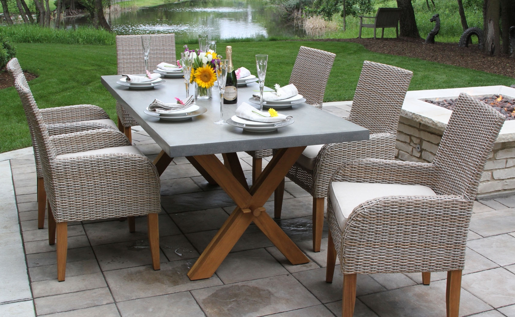 Latest Rattan Dining Tables And Chairs With Teak Wood & Ash Wicker Dining Side Chair With Sunbrella Fabrics, 2Pk (View 10 of 25)