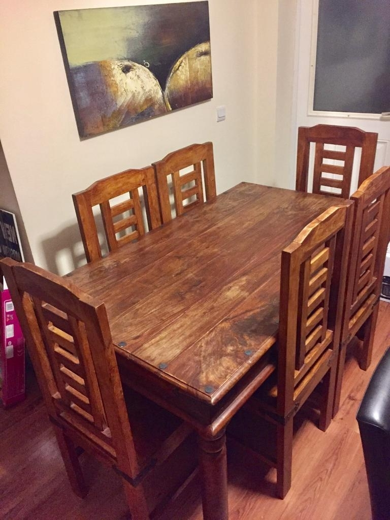 Latest Real Sheesham Wood Dining Table With 6 Chairs Also Known As Indian Within Sheesham Wood Dining Chairs (View 9 of 25)