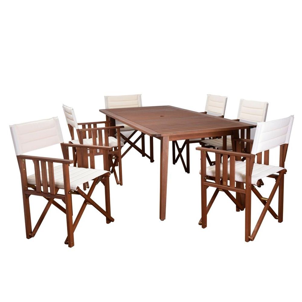 Latest Rio Dining Tables Regarding Amazonia Rio 7 Piece Eucalyptus Rectangular Patio Dining Set With (View 10 of 25)