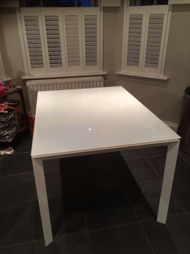 Latest Rio Dining Tables With Habitat Rio White Glass Extending Dining Table £50 Obo (View 21 of 25)