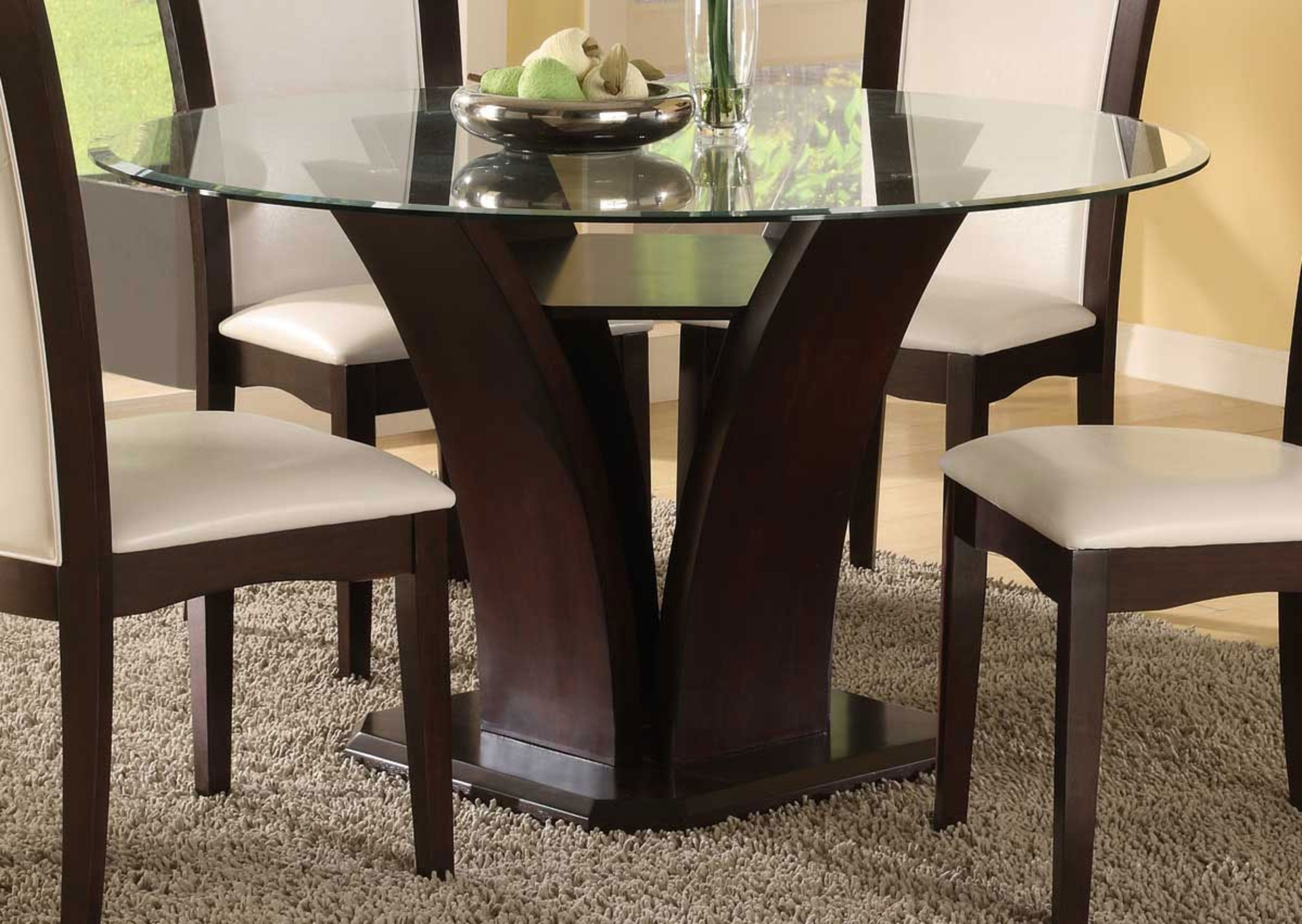 Latest Round Glass Dining Table With Dark Brown Wooden Base On Mocha Fur Pertaining To Dark Brown Wood Dining Tables (View 9 of 25)