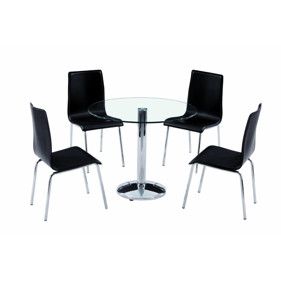 Latest Round Glass Dining Table With Single Steel Legs And Rounded Pedestal With Regard To Round Black Glass Dining Tables And 4 Chairs (View 17 of 25)