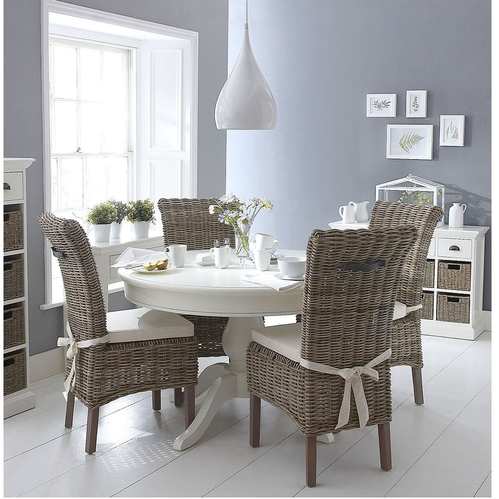 Latest Round White Dining Tables With Classic Wicker Round White Dining Table And 4 Chair Set – Azura Home (View 9 of 25)