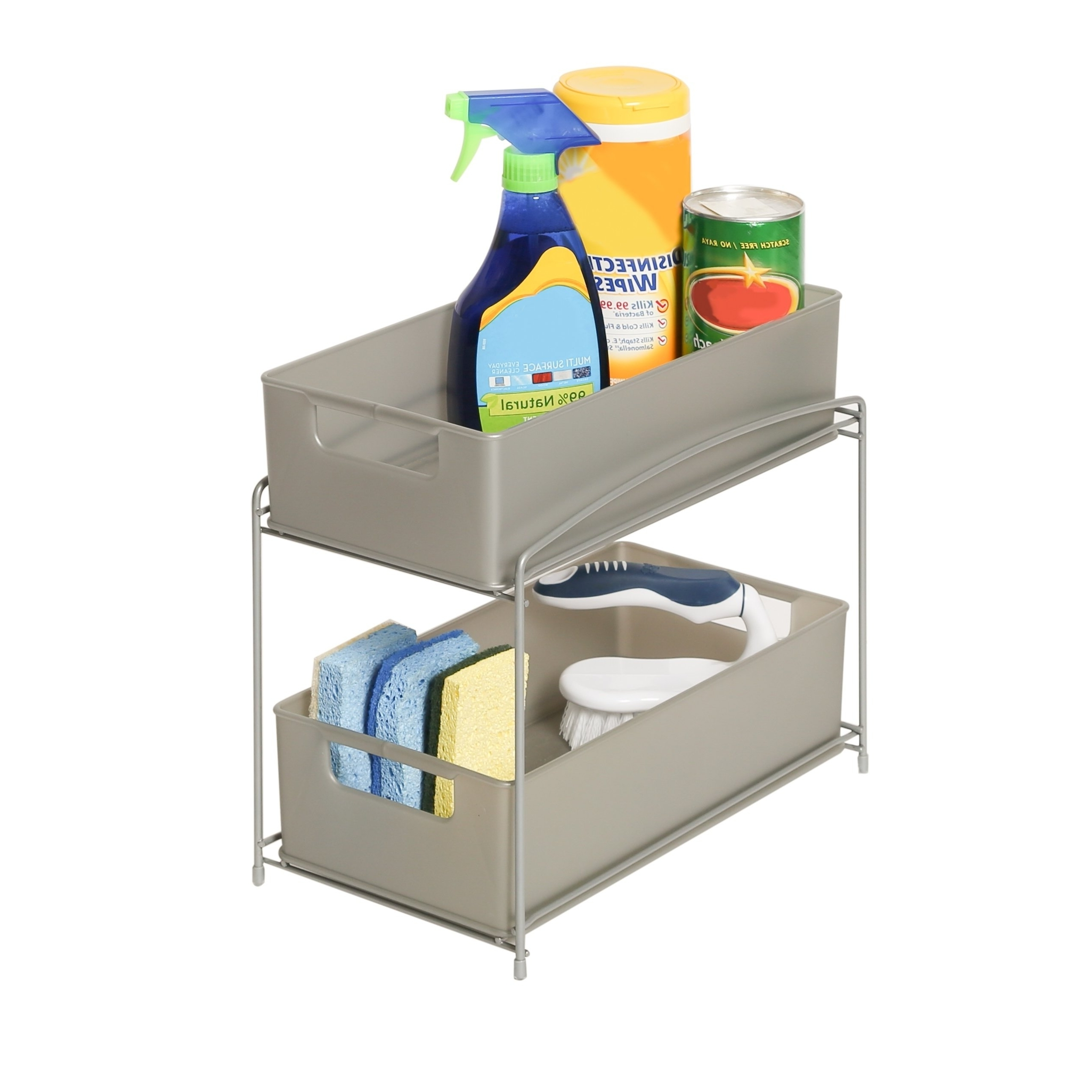 Latest Shop Seville Classics 2 Tier Pull Out Sliding Drawer Kitchen Counter Throughout Ina Pewter 60 Inch Counter Tables With Frosted Glass (View 23 of 25)