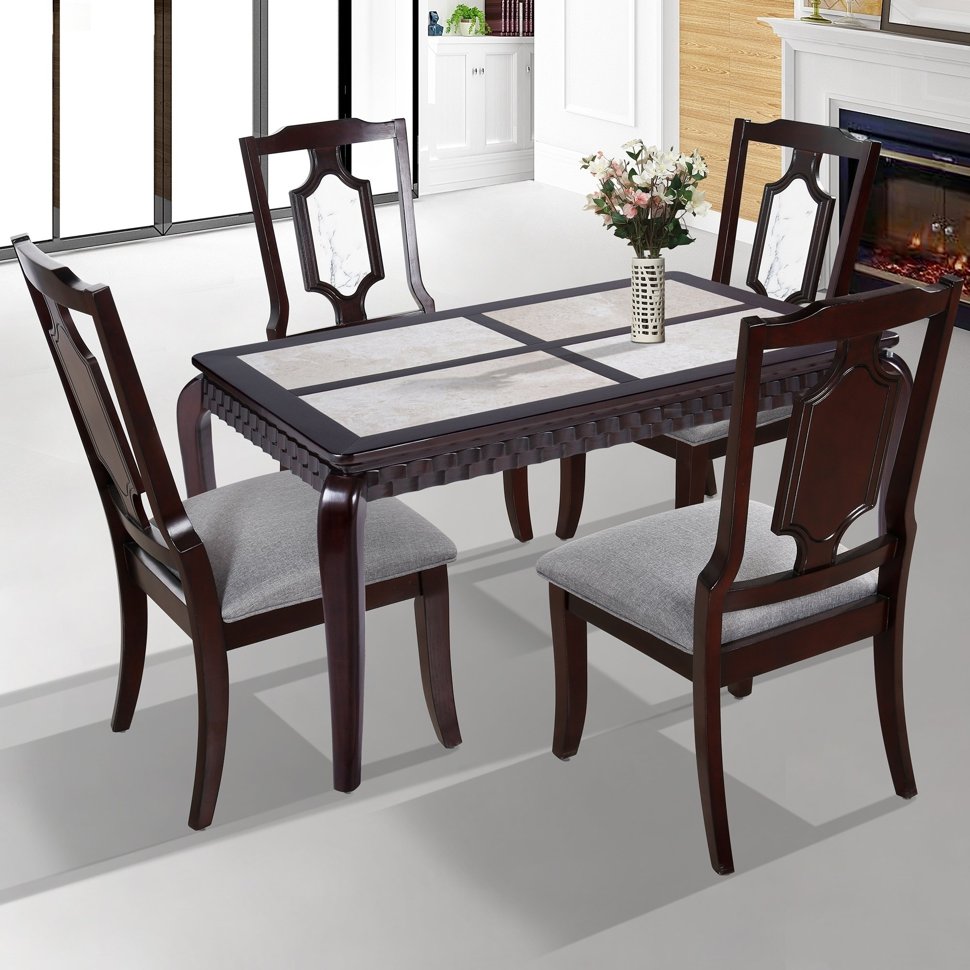 Latest Solid Marble Dining Tables With Regard To Shop Sleeplanner Natural Marble Deluxe Solid Wood Dining Table With (View 10 of 25)