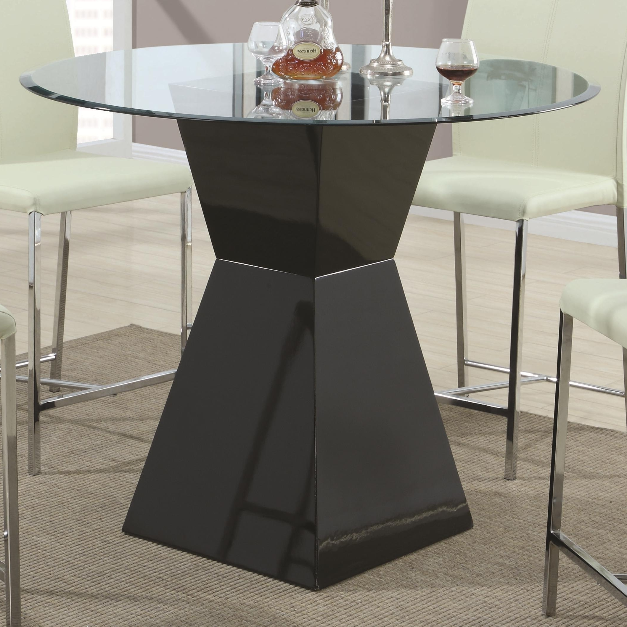 Latest Square Black Glass Dining Tables Regarding Round Glass Dining Table With Square Black Wooden Base On Grey Rug (View 21 of 25)