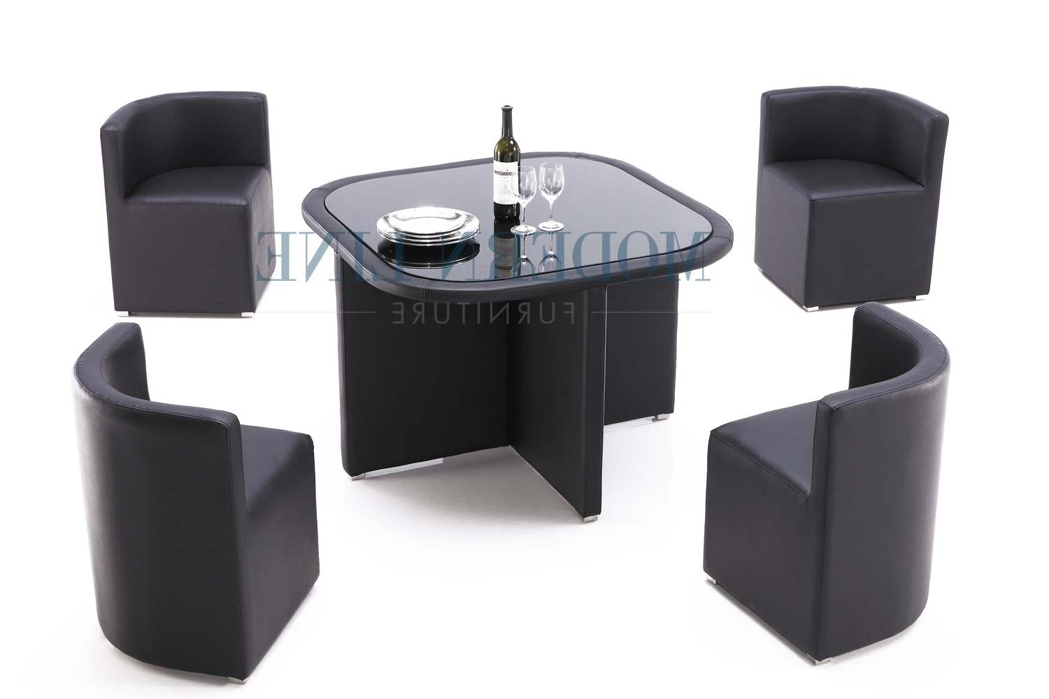 Latest Stowaway Dining Tables And Chairs With Modern All In One Black Dining Set – Dining Table With Four Stow (View 15 of 25)