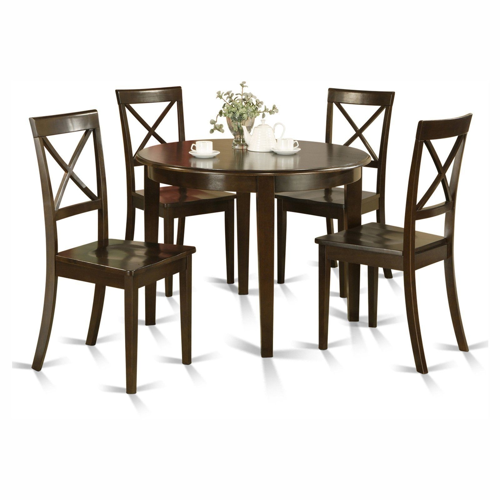 Latest Valencia 5 Piece Round Dining Sets With Uph Seat Side Chairs In East West Furniture Boston 5 Piece Round Dining Table Set With (View 17 of 25)