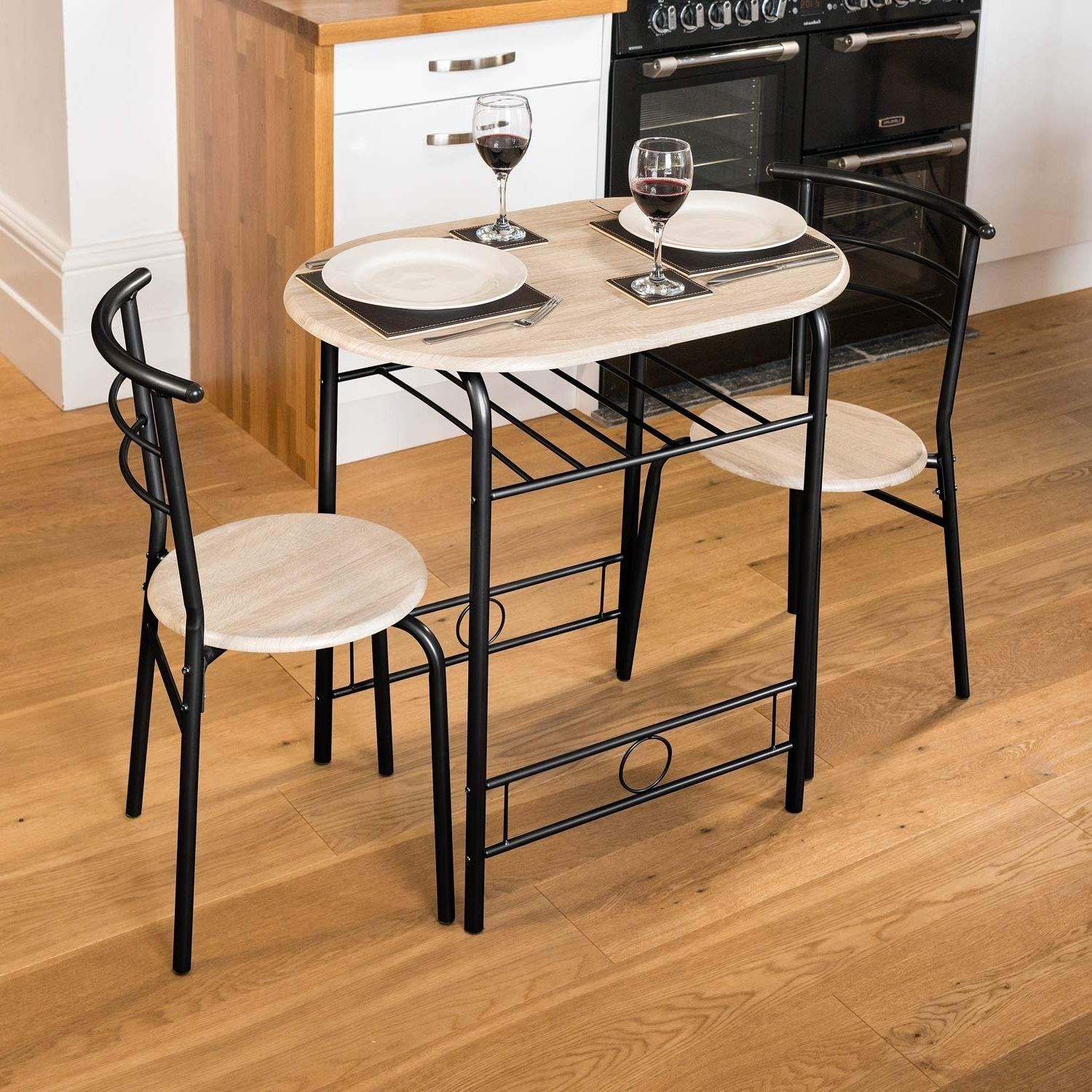 Latest Washed Old Oak & Waxed Black Legs Bar Tables For Christow 3 Piece Dining Set Breakfast Bar Kitchen Table Chairs (View 10 of 25)