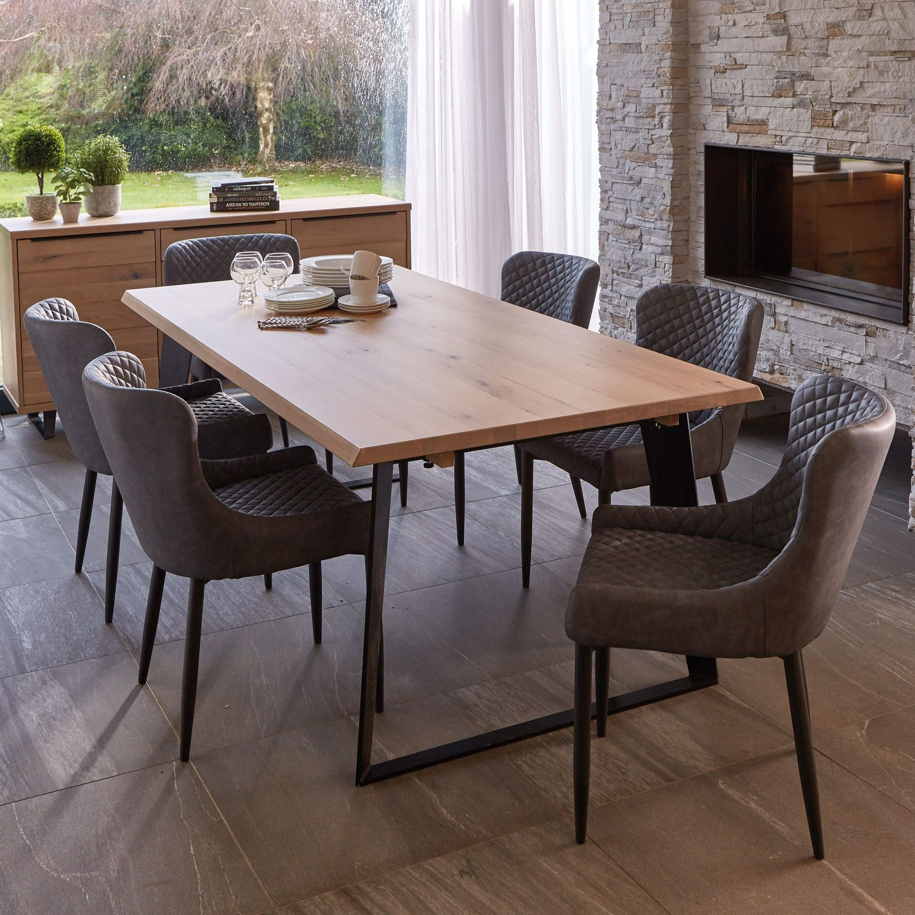 Latest Weldon Dining Table, Extension Leaf & 6 Toby Brown Dining Chairs Throughout Candice Ii Extension Rectangle Dining Tables (View 11 of 25)