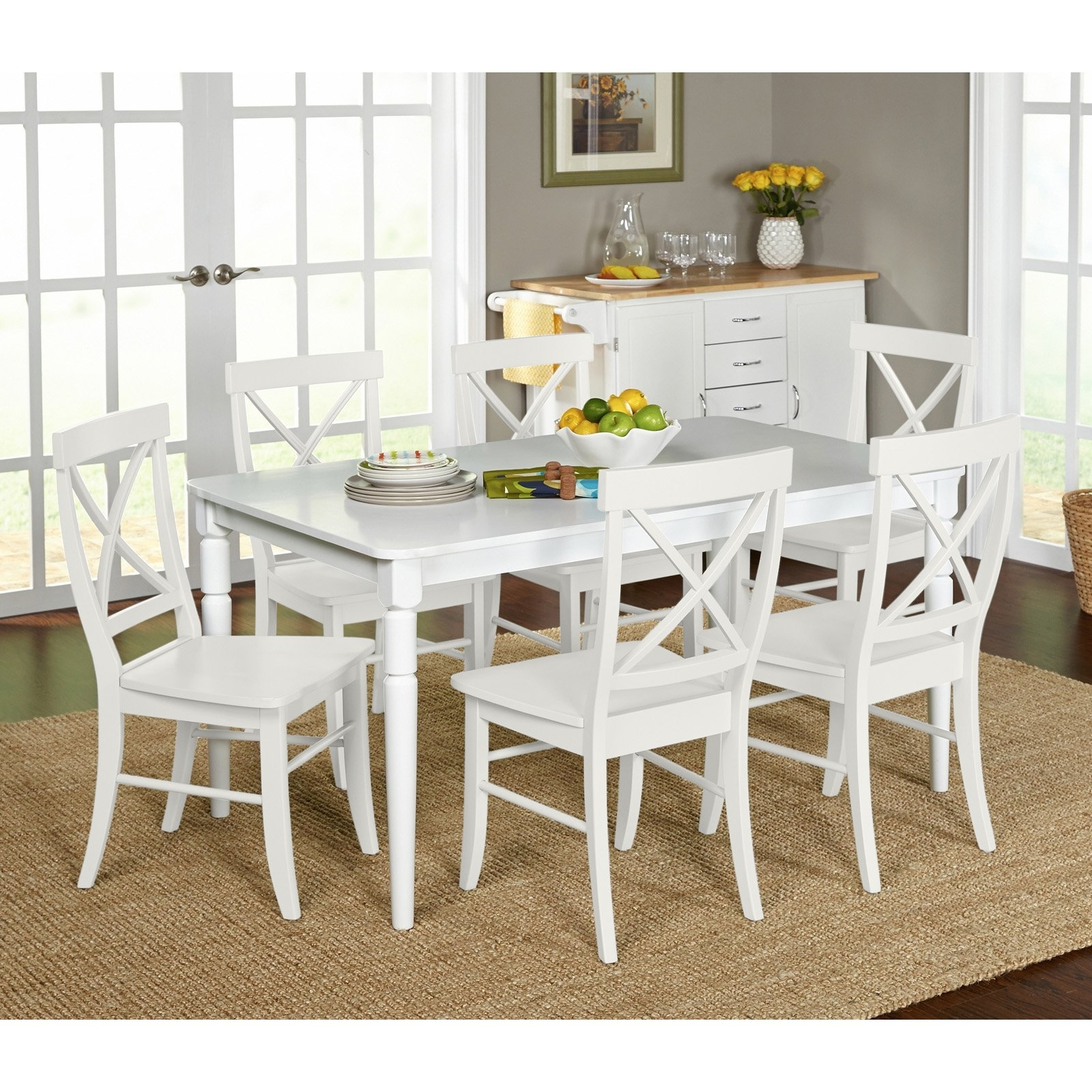 Latest White Dining Tables Sets With Target Marketing Systems Albury 7 Piece Dining Table Set – Walmart (View 18 of 25)