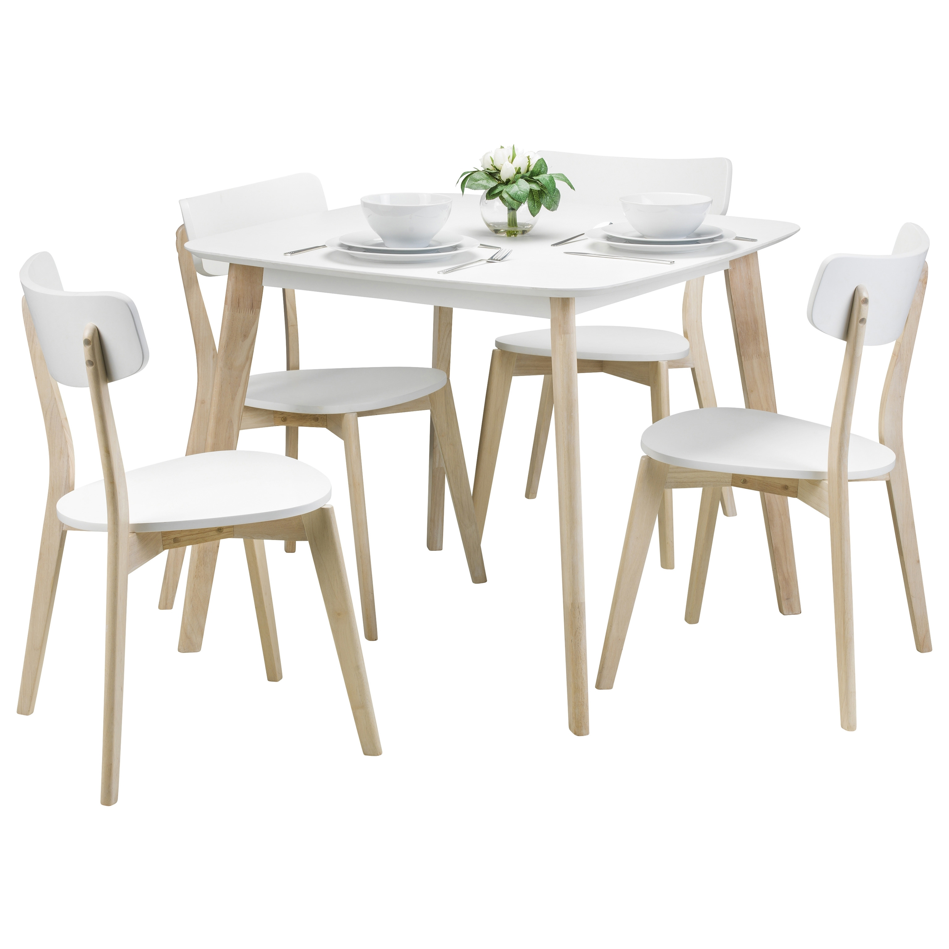 Latest White Finish & Limed Oak Effect Square Dining Table And Chair Set Regarding Square Oak Dining Tables (View 22 of 25)
