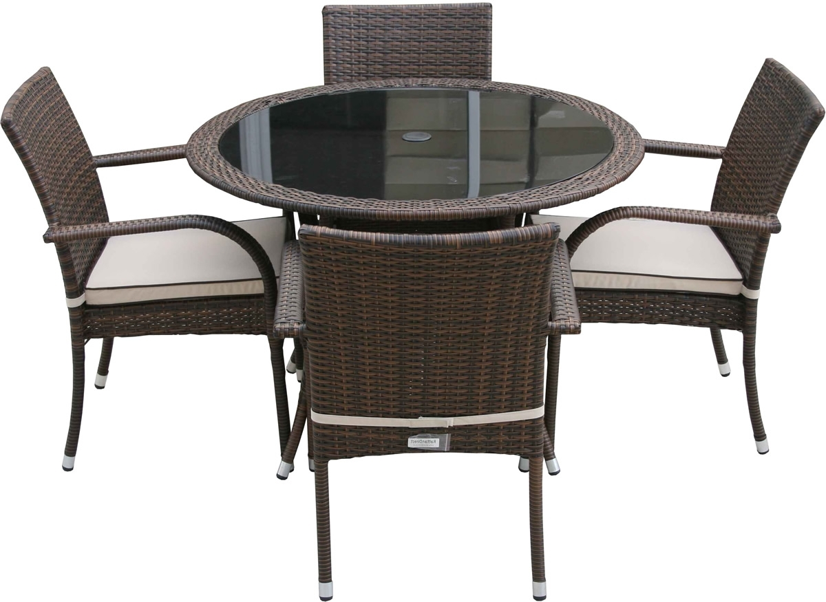 Latest Wicker And Glass Dining Tables With Modern Round Glass Top Dining Table With Steel Legs Combined With (View 14 of 25)