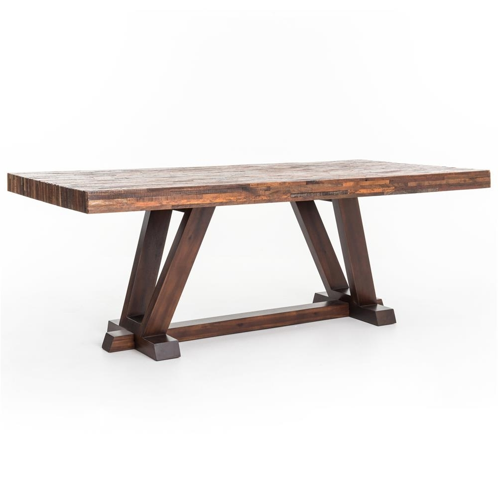 Latest Wood Dining Tables For Leanna Rustic Lodge Layered Salvaged Wood Dining Table (View 12 of 25)