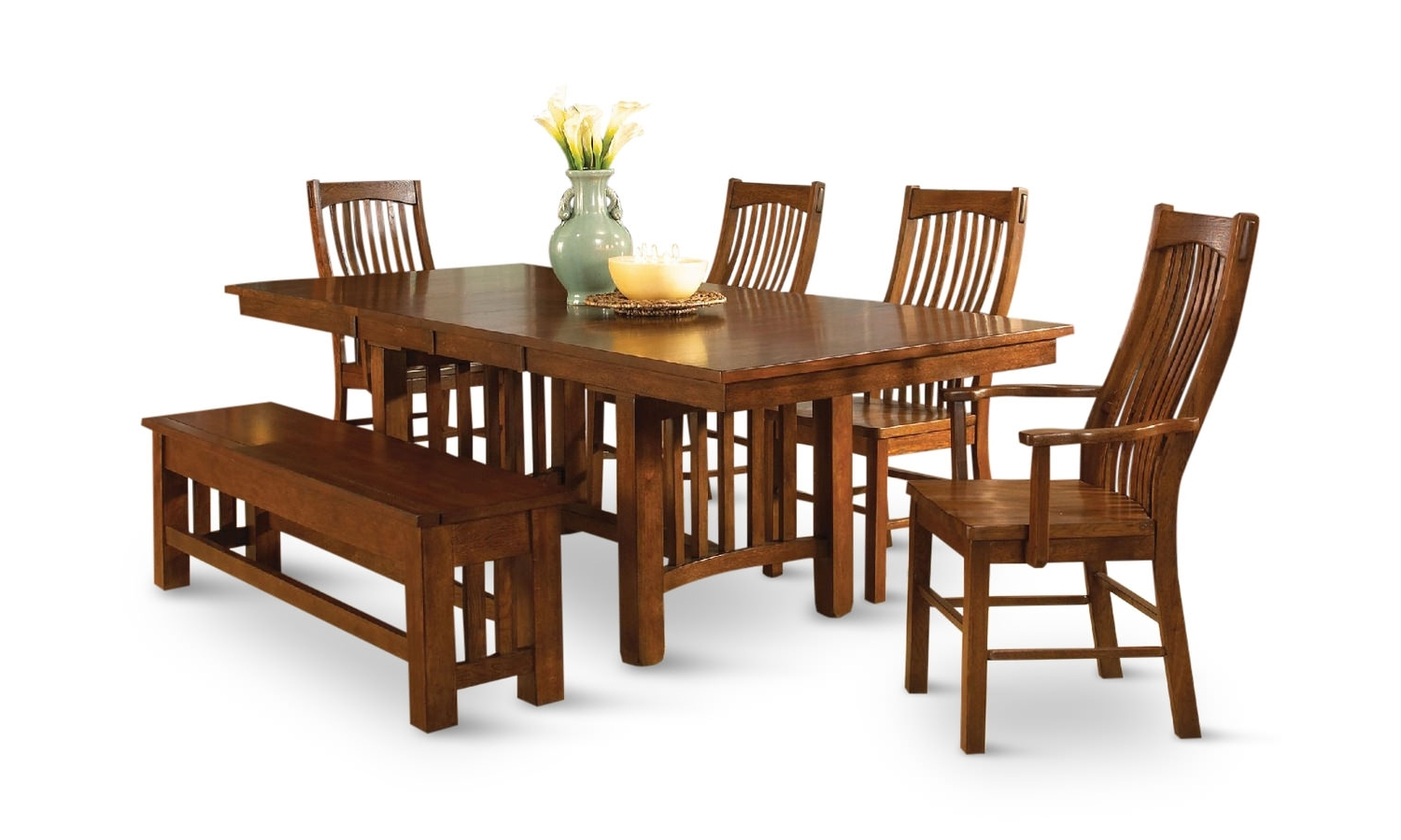 Laurelhurst Solid Oak Mission Dining Table And 4 Side Chairs Intended For Recent Oak Dining Furniture (View 10 of 25)