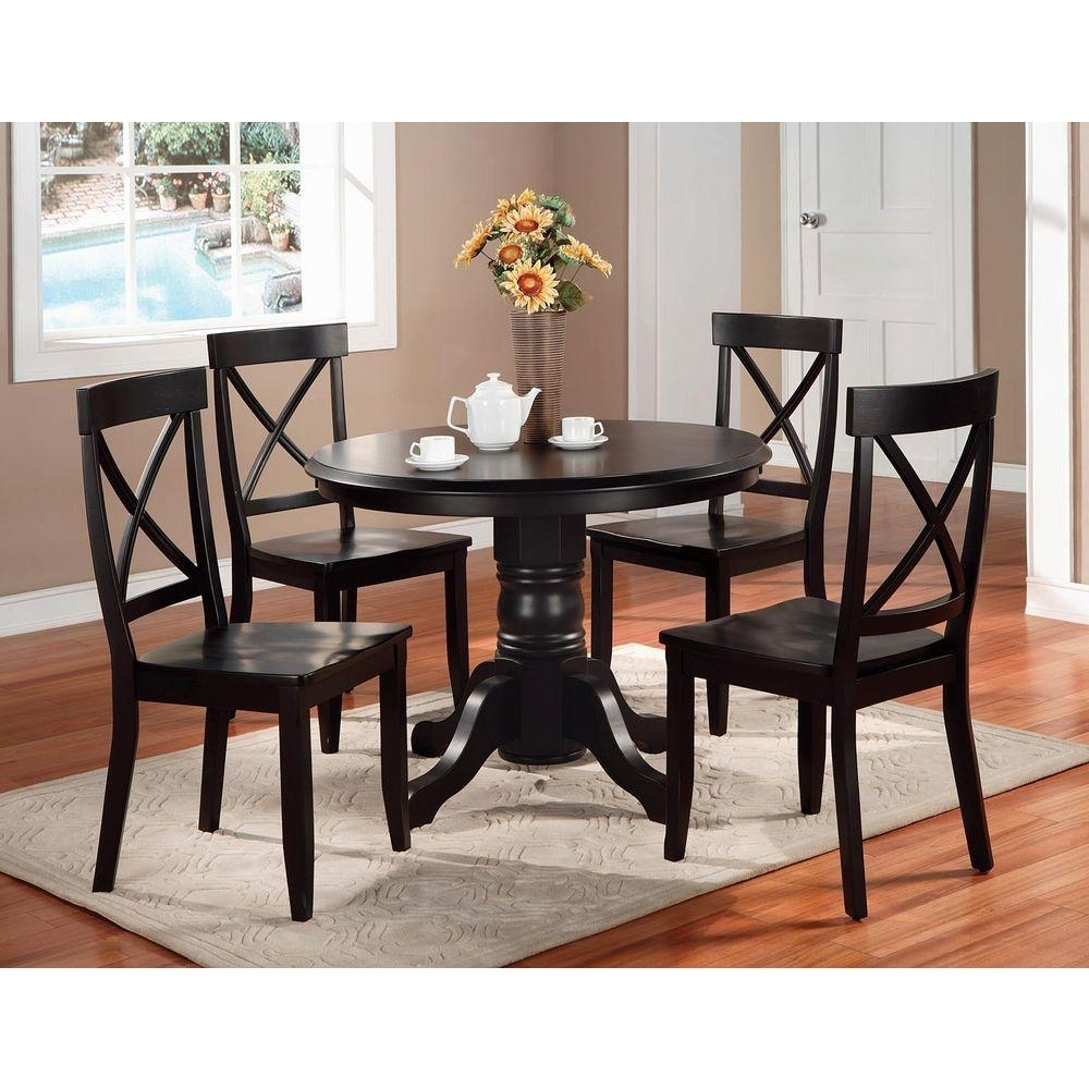 Laurent 5 Piece Round Dining Sets With Wood Chairs Throughout Most Recently Released Home Styles 5 Piece Black And Oak Dining Set 5168 318 – The Home Depot (View 8 of 25)