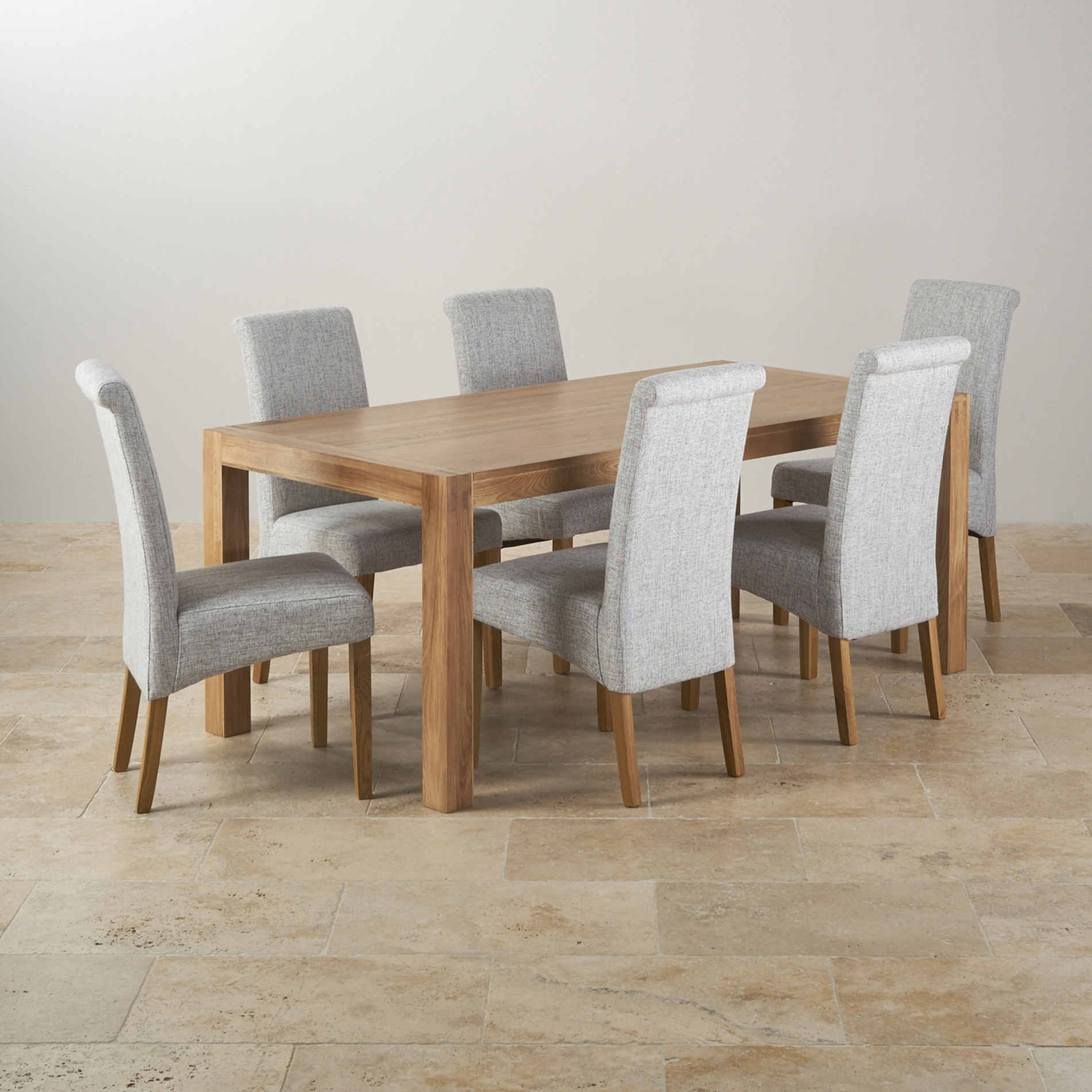 Laurent 5 Piece Round Dining Sets With Wood Chairs With Regard To Well Liked Alto Solid Oak 6Ft Dining Table With 6 Grey Fabric Chairs Ghost (View 23 of 25)
