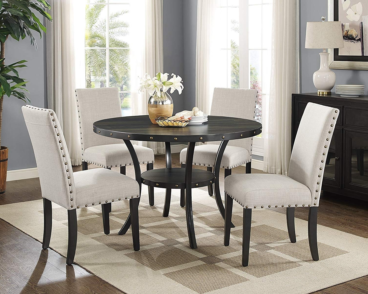 Laurent 5 Piece Round Dining Sets With Wood Chairs Within Current Amazon – Roundhill Furniture D162Ta Biony Dining Collection (View 14 of 25)