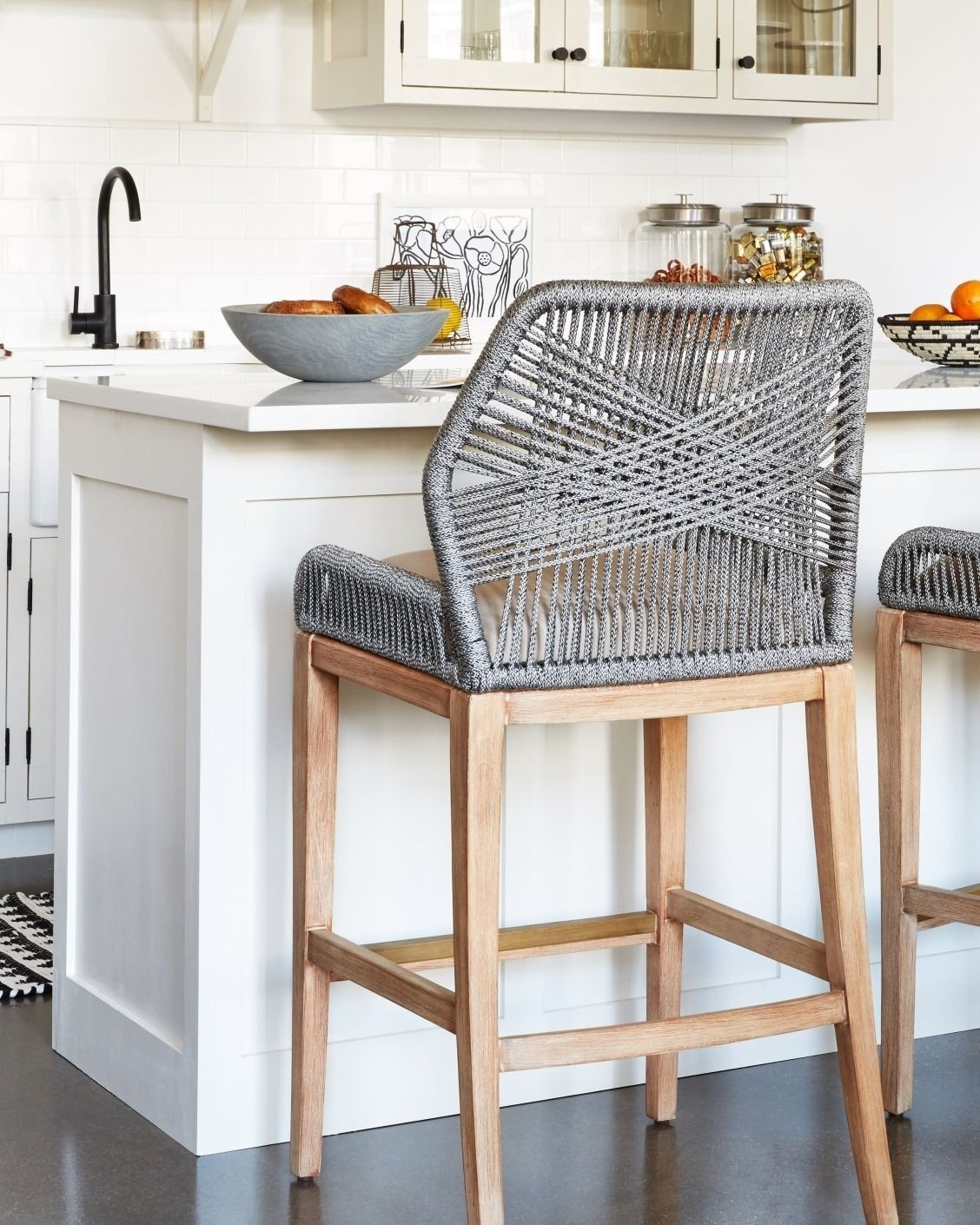 Laurent 7 Piece Counter Sets With Upholstered Counterstools For Latest These Woven Rope Counter Stools Are Such A Fun, Unexpected Kitchen (View 14 of 25)