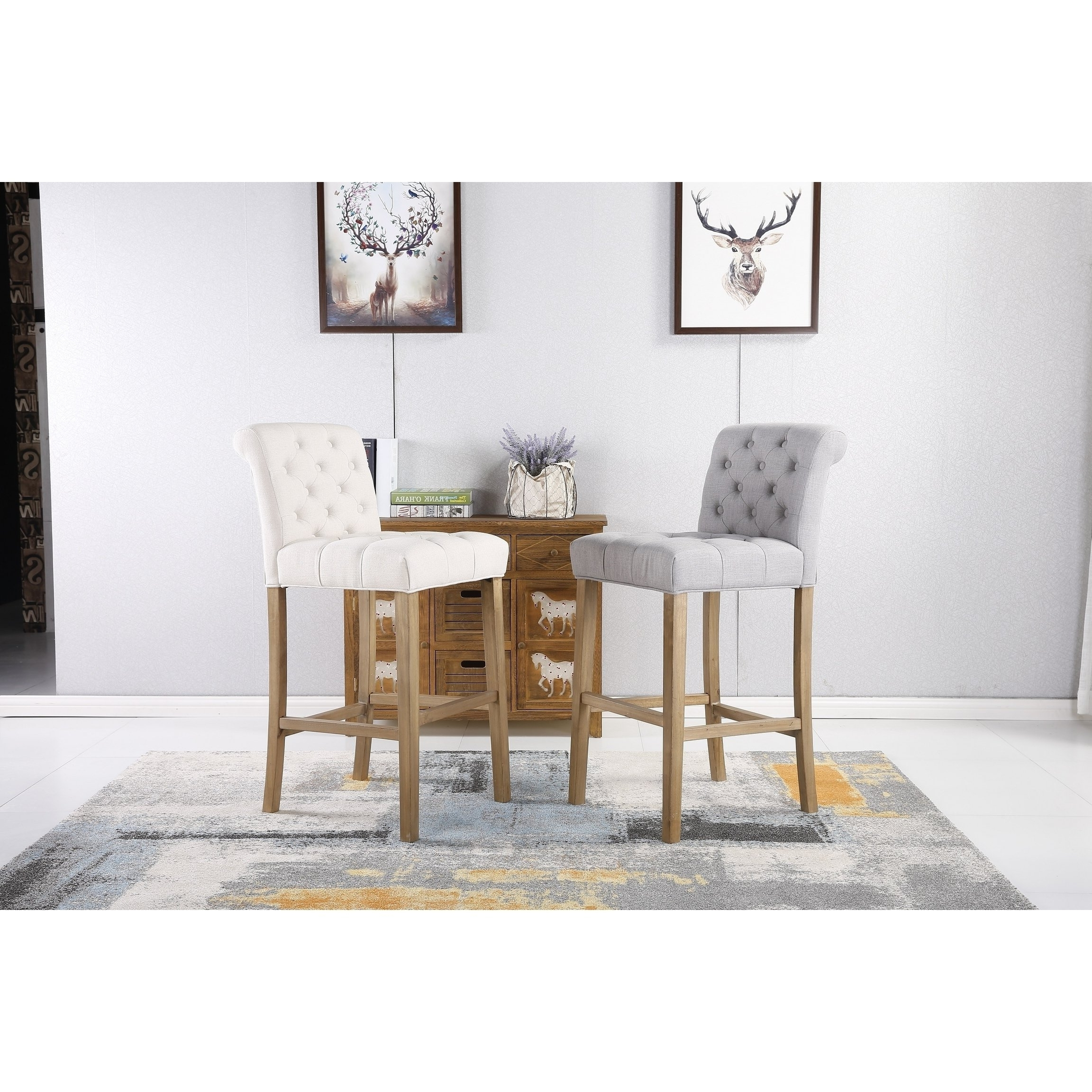 Laurent 7 Piece Counter Sets With Upholstered Counterstools With 2018 Shop Carlisle Bar Height Button Tufted Solid Wood Bar Stools, Set Of (View 8 of 25)