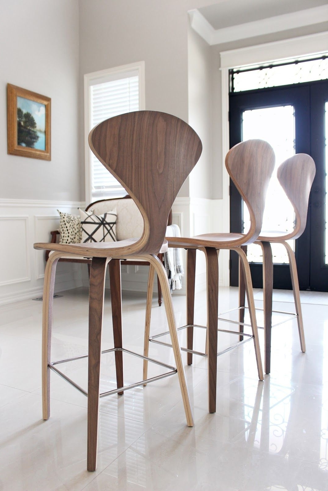 Laurent 7 Piece Counter Sets With Upholstered Counterstools Within Fashionable Norman Cherner Style Counter Stools In Walnut From Rove Concepts (View 11 of 25)