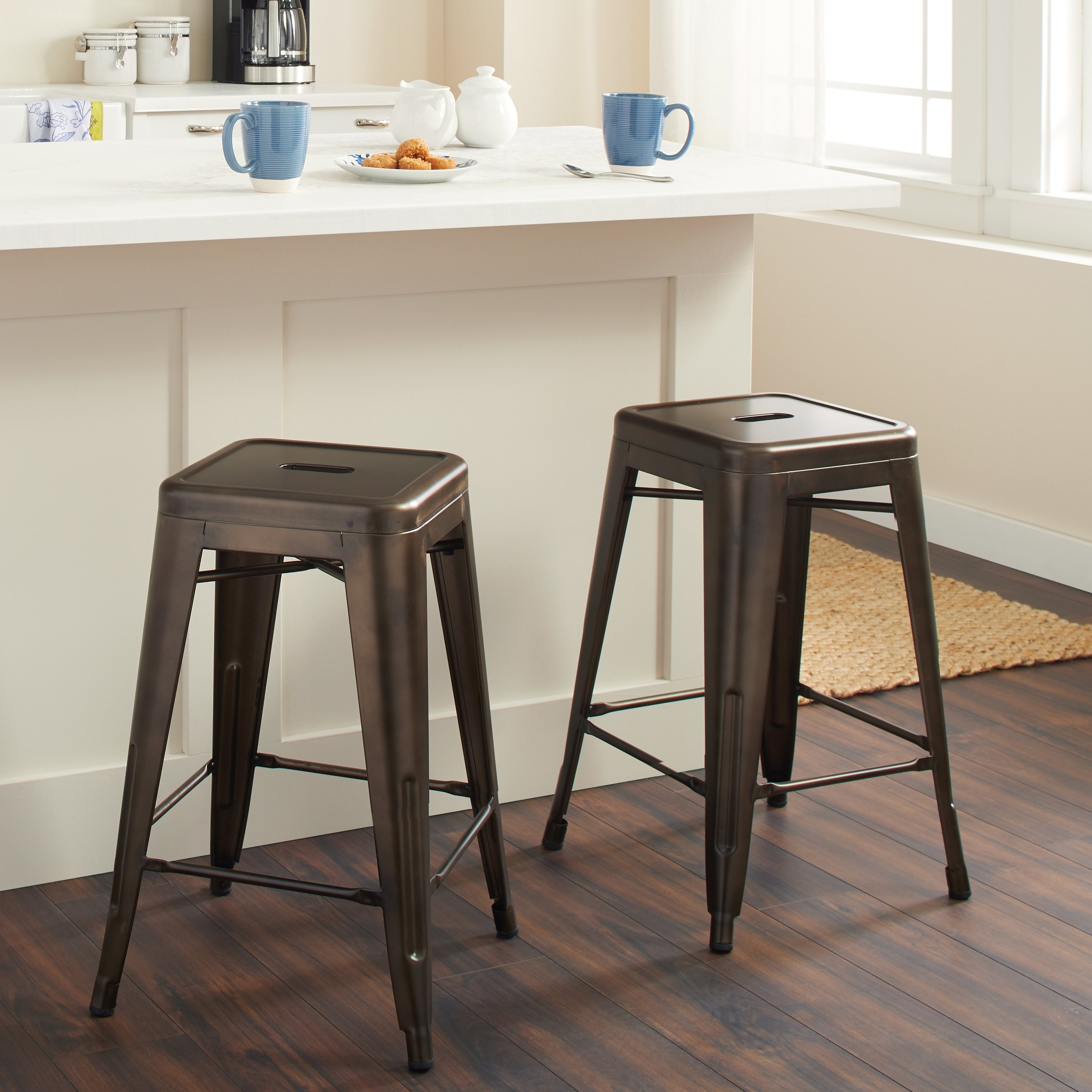 Laurent 7 Piece Counter Sets With Wood Counterstools With 2018 Shop Tabouret 24 Inch Vintage Patina Backless Counter Stool (Set Of (View 8 of 25)