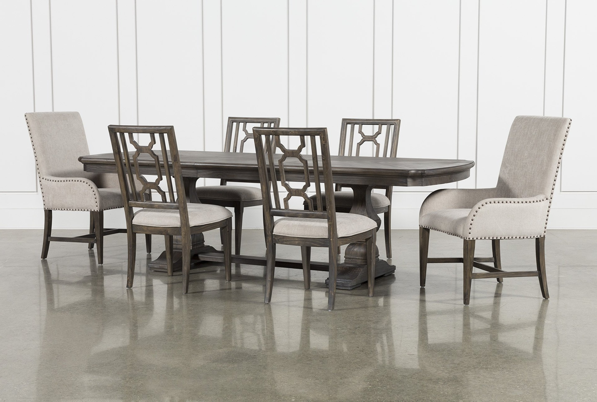 Laurent 7 Piece Rectangle Dining Set With Wood And Host Chairs Intended For Most Popular Laurent Rectangle Dining Tables (View 10 of 25)