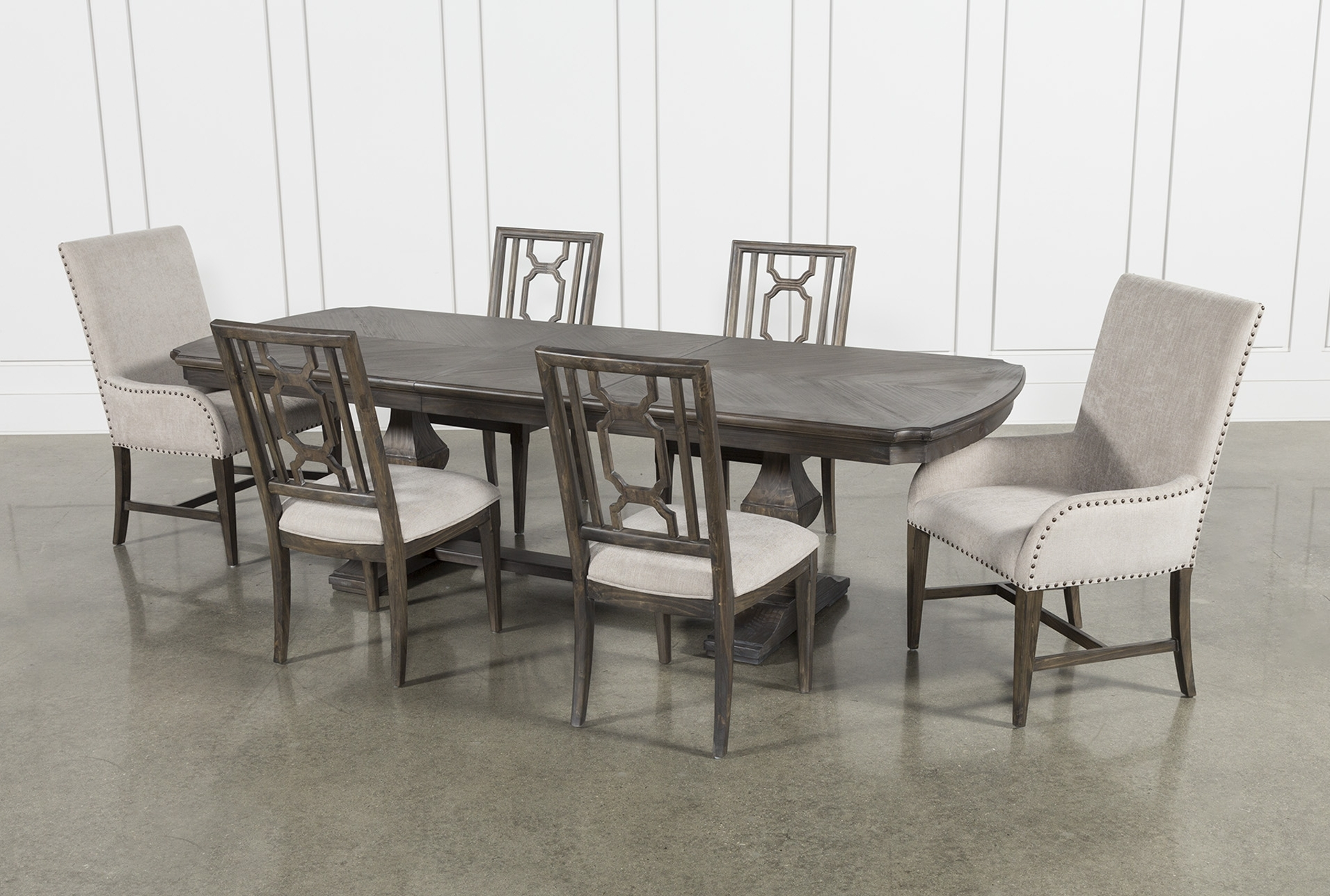 Featured Photo of Laurent 7 Piece Rectangle Dining Sets With Wood And Host Chairs