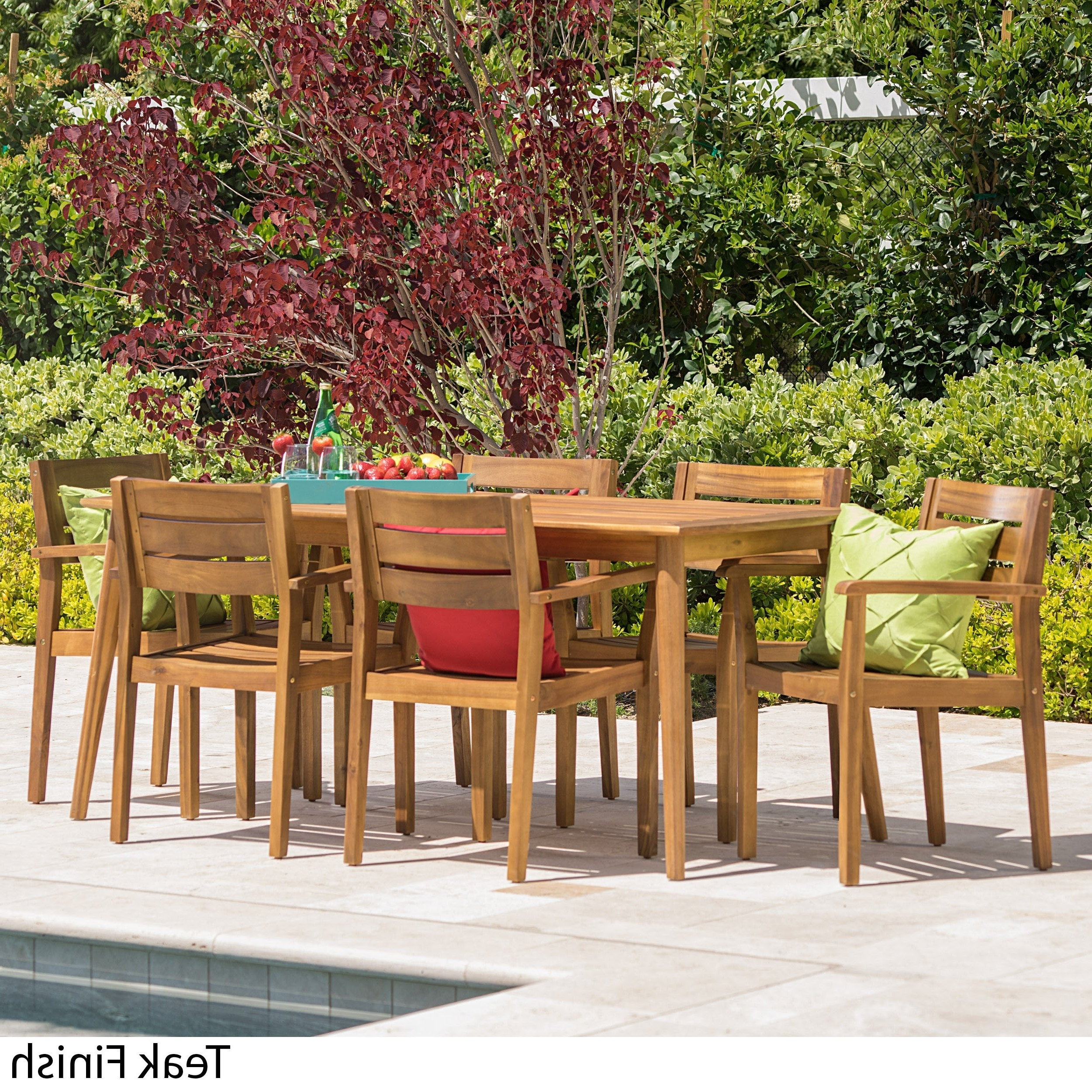 Laurent 7 Piece Rectangle Dining Sets With Wood And Host Chairs With Regard To Most Current Shop Stamford Outdoor 7 Piece Rectangle Acacia Wood Dining Set (View 16 of 25)