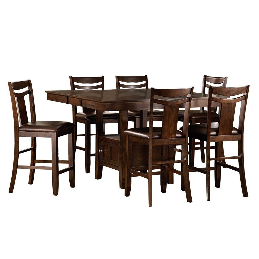 Laurent 7 Piece Rectangle Dining Sets With Wood Chairs Inside Latest Homesullivan Barrington 7 Piece Warm Brown Bar Table Set  (View 12 of 25)