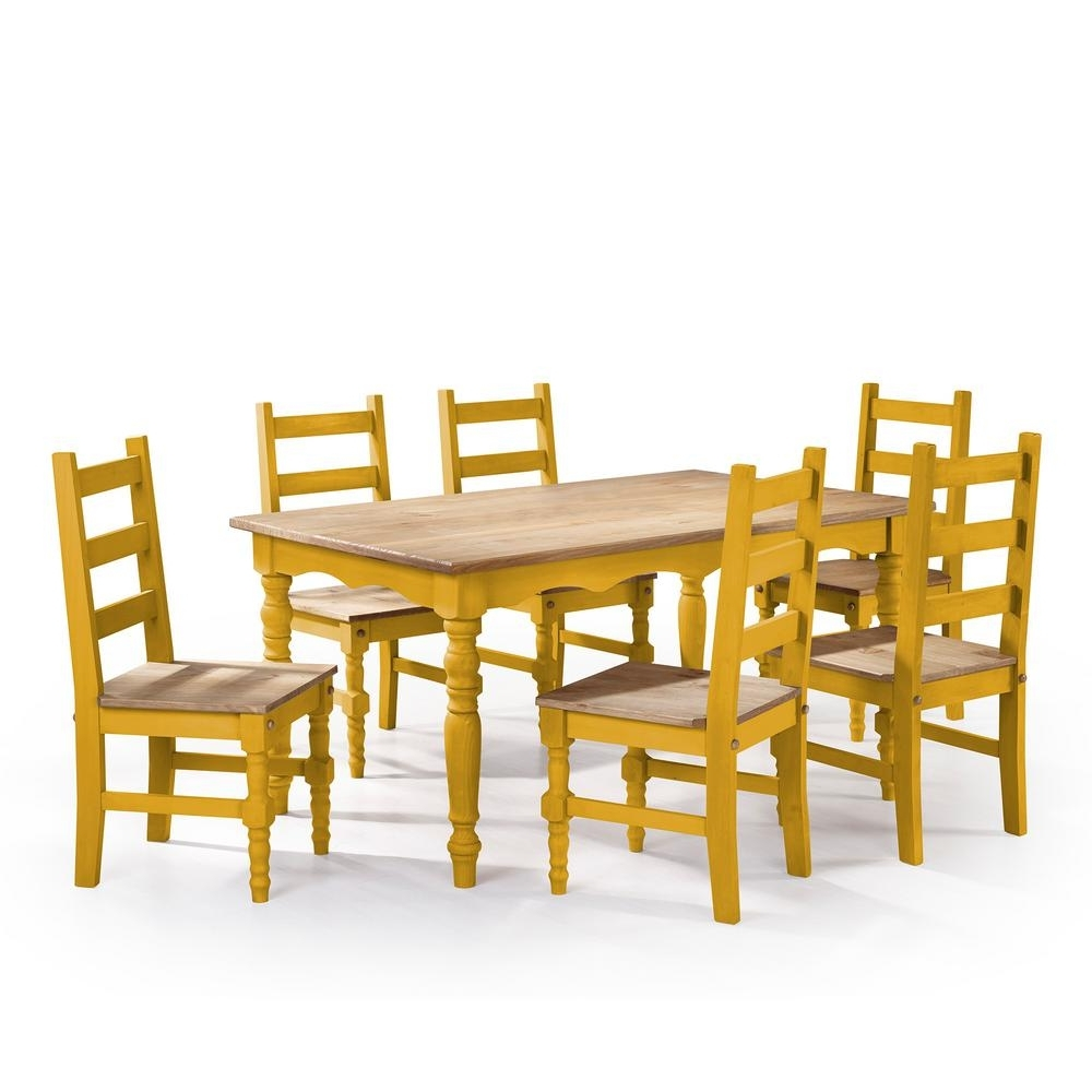 Laurent 7 Piece Rectangle Dining Sets With Wood Chairs Inside Well Liked Manhattan Comfort Jay 7 Piece Yellow Wash Solid Wood Dining Set With (View 14 of 25)