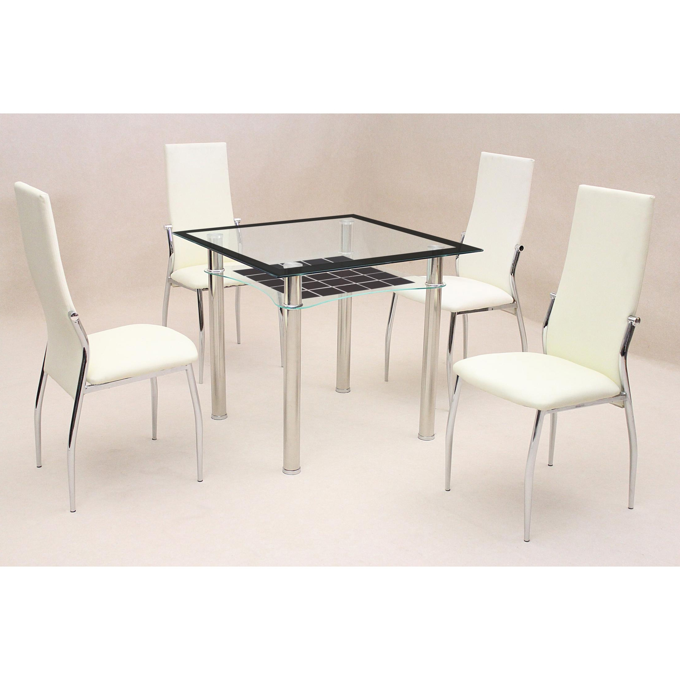Lazio Dining Tables In Newest Jazo Black Dining Table Chrome 4 Lazio Chairs (View 6 of 25)