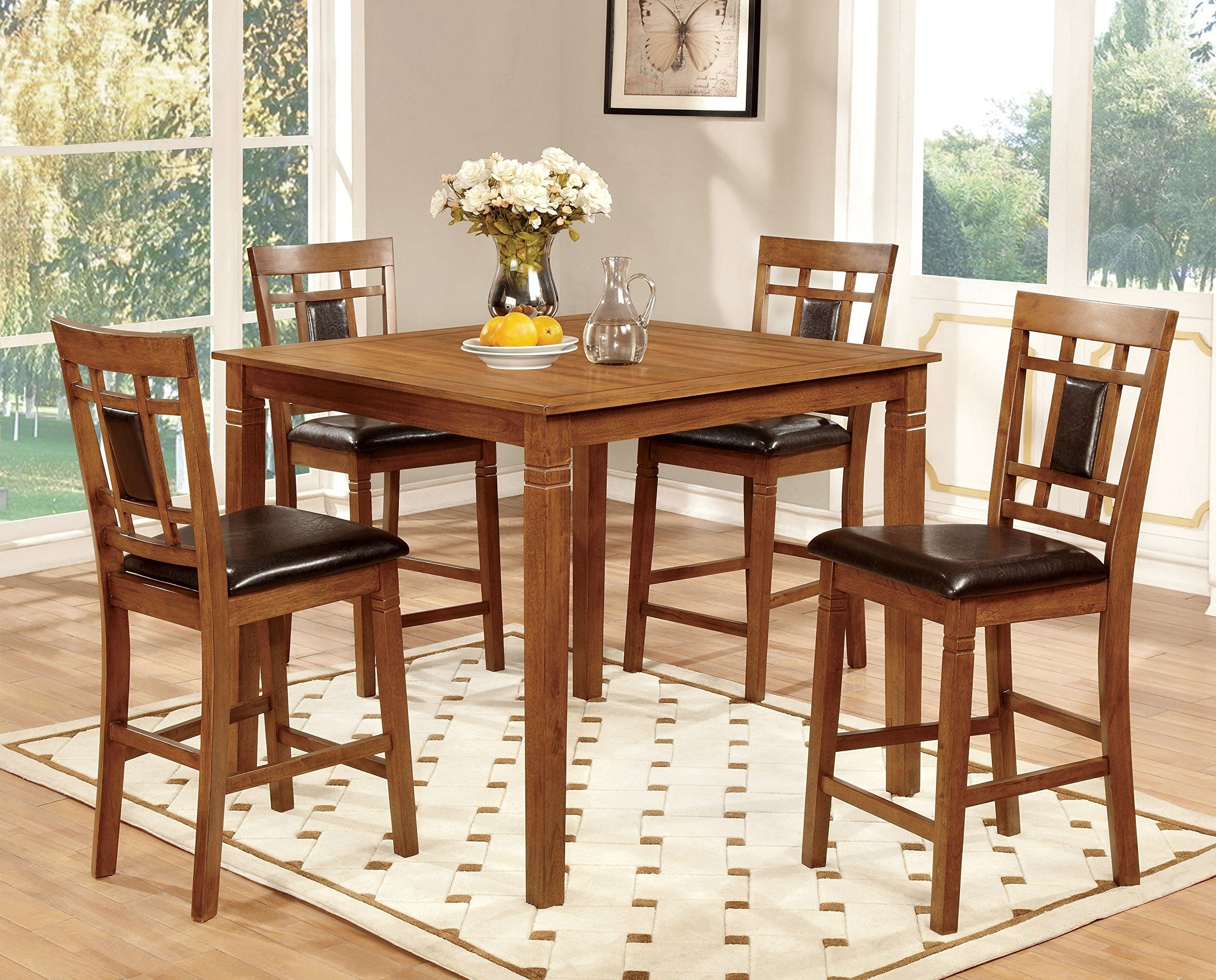 Lazio Dining Tables With Most Up To Date Furniture Of America Lazio 5 Piece Transitional Pub Dining Set (View 14 of 25)