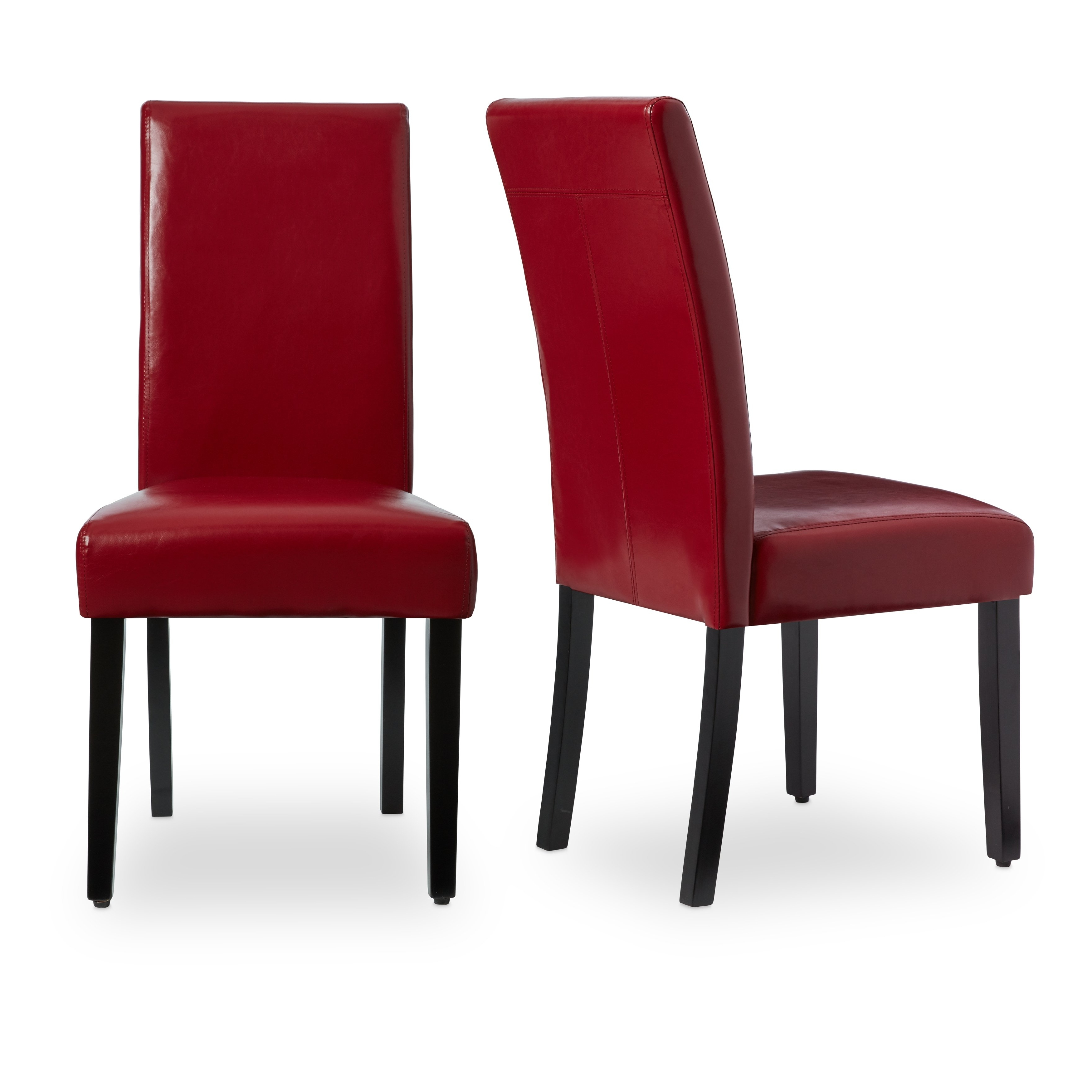 Leather Dining Chairs Set Of 2 Red High Back Restaurant Upholstered Regarding Favorite Red Leather Dining Chairs (View 3 of 25)