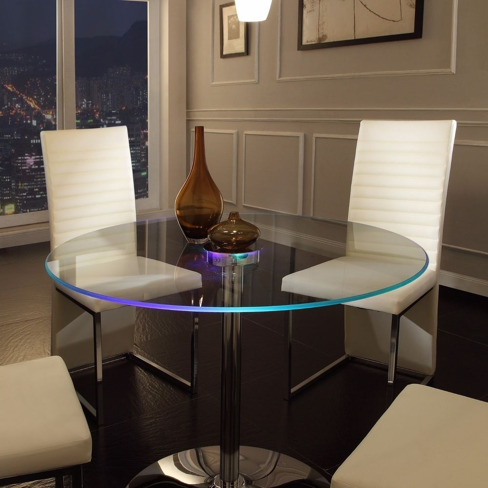 Led Dining Table Round Chrome Glass Metal Lights Living Room Gaming For 2017 Dining Tables With Led Lights (View 14 of 25)