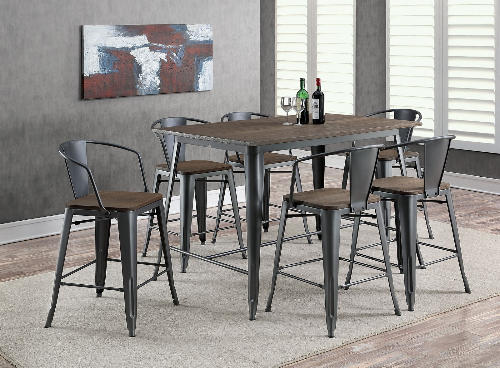 Lela Industrial Style Gray 7Pc Counter Height Dining Table Set W Pertaining To Most Popular Industrial Style Dining Tables (View 10 of 25)