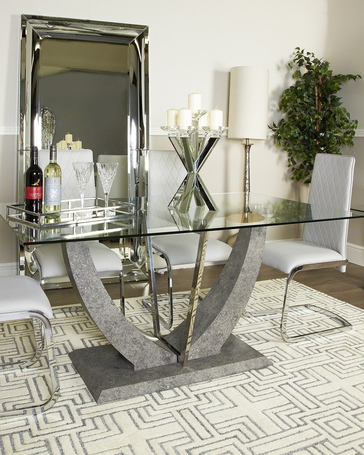 Leo Grey Glass Top Chrome Dining Table And Chairs Set With Regard To Well Known Chrome Dining Tables And Chairs (View 16 of 25)