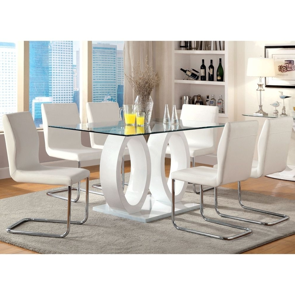 Leon 7 Piece Dining Sets Inside Recent Furniture Of America Olgette Contemporary 7 Piece High Gloss Dining (View 19 of 25)
