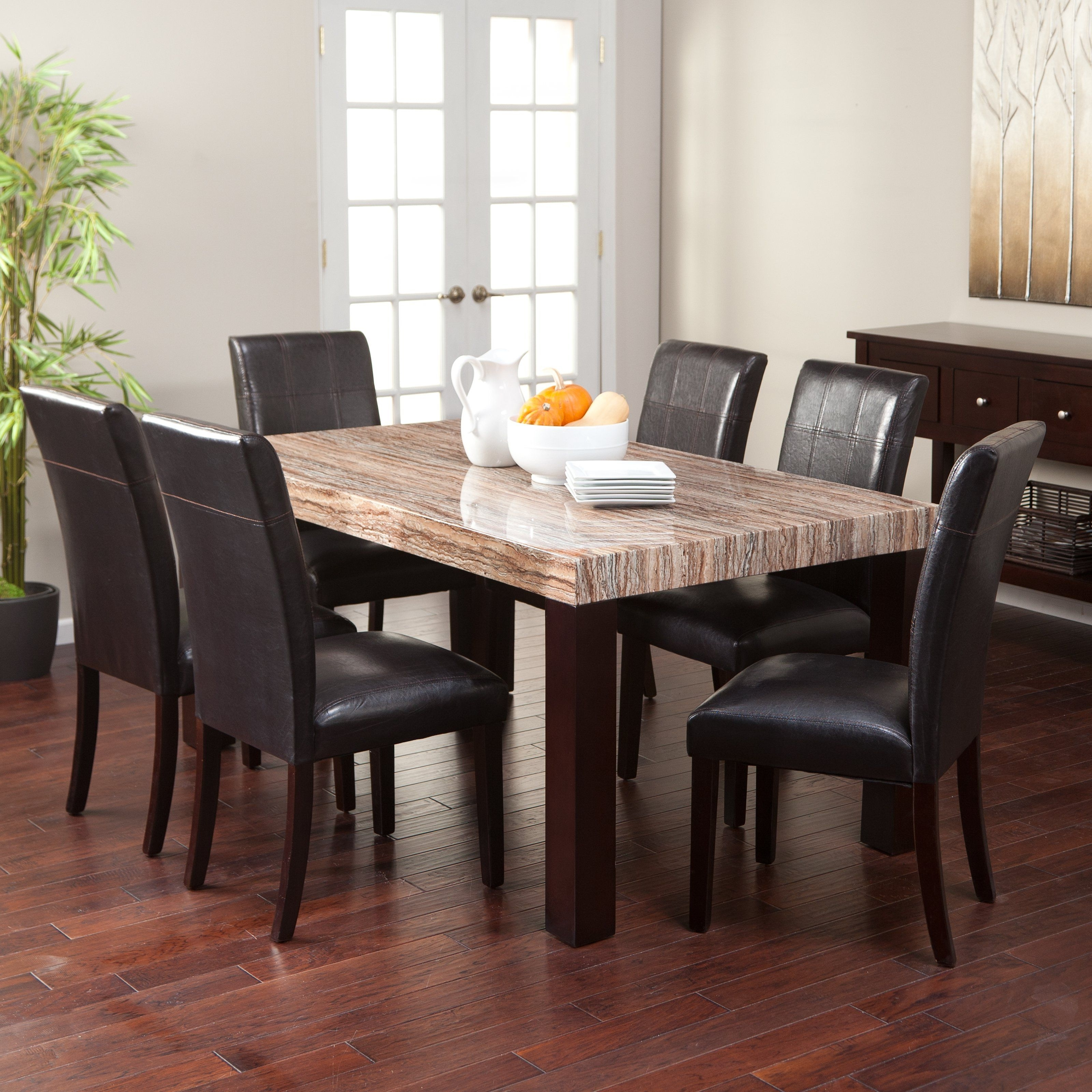 Leon 7 Piece Dining Sets Pertaining To Most Recent Carmine 7 Piece Dining Table Set – With Its Creamy Caramel Colored (View 10 of 25)